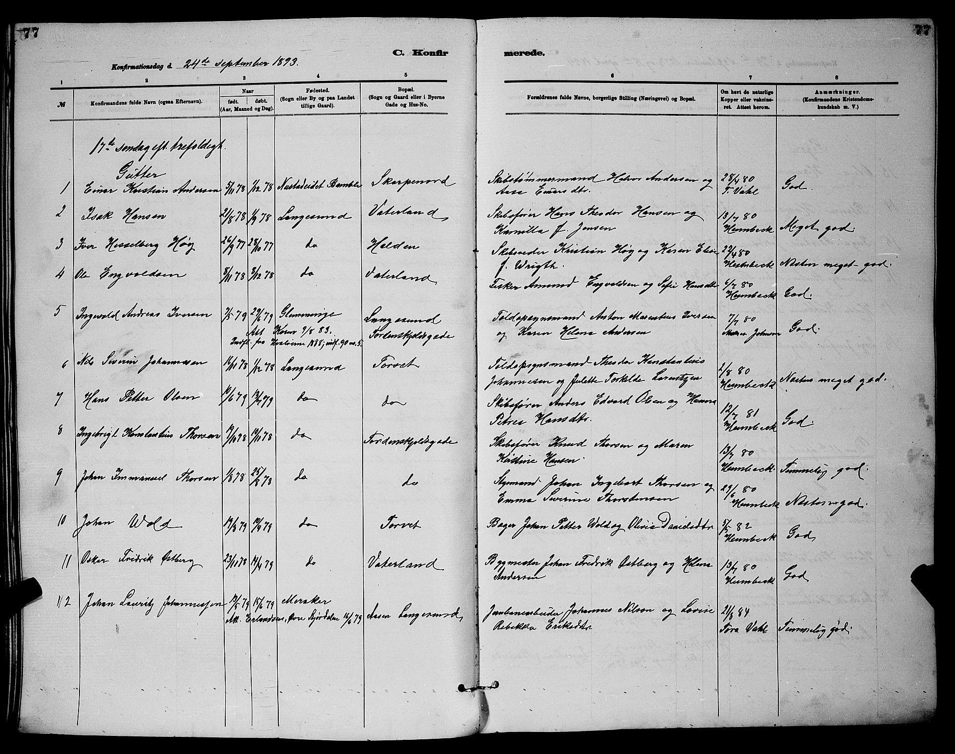 SAKO, Langesund kirkebøker, G/Ga/L0005: Klokkerbok nr. 5, 1884-1898, s. 77