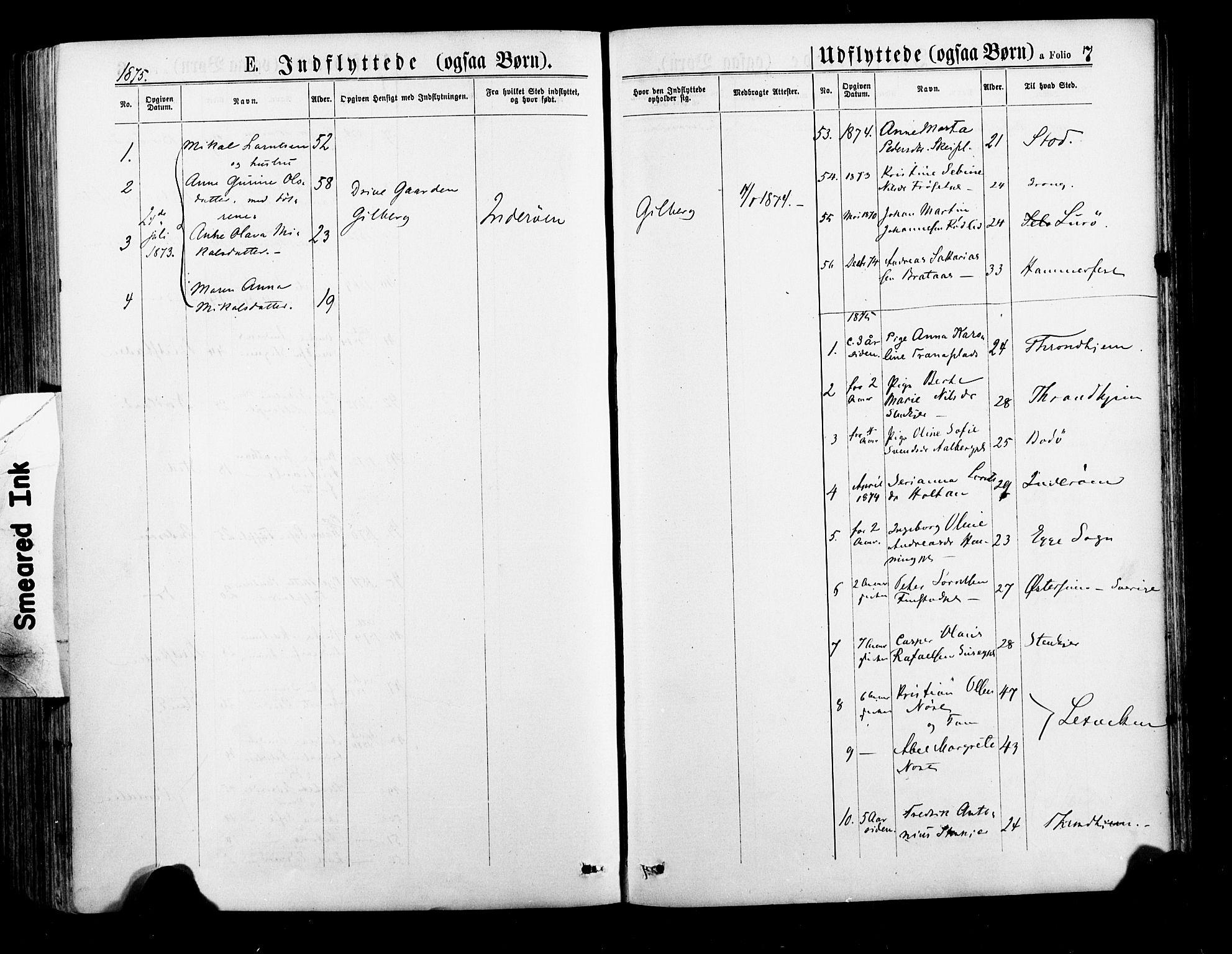 SAT, Ministerialprotokoller, klokkerbøker og fødselsregistre - Nord-Trøndelag, 735/L0348: Ministerialbok nr. 735A09 /1, 1873-1883, s. 7