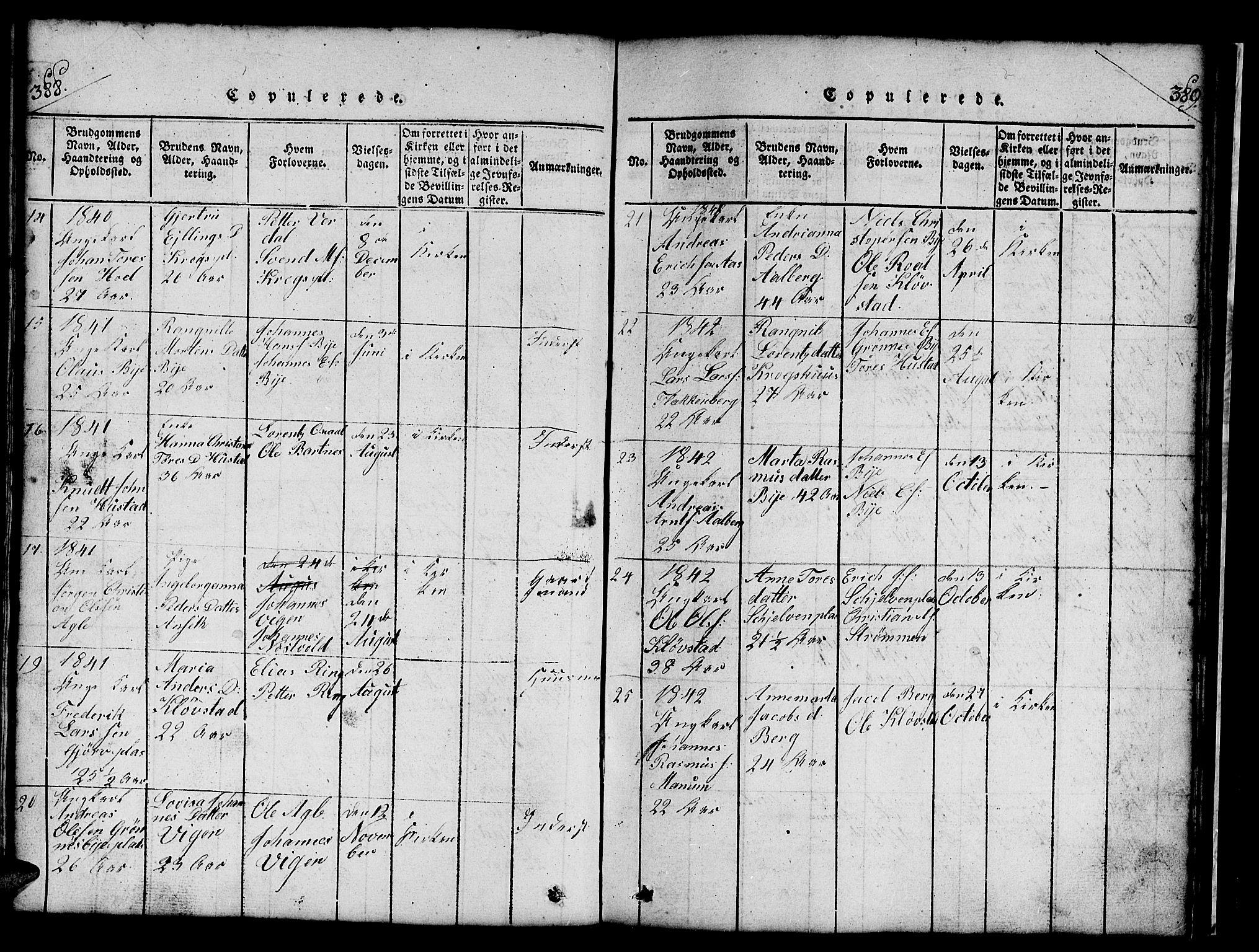 SAT, Ministerialprotokoller, klokkerbøker og fødselsregistre - Nord-Trøndelag, 732/L0317: Klokkerbok nr. 732C01, 1816-1881, s. 388-389