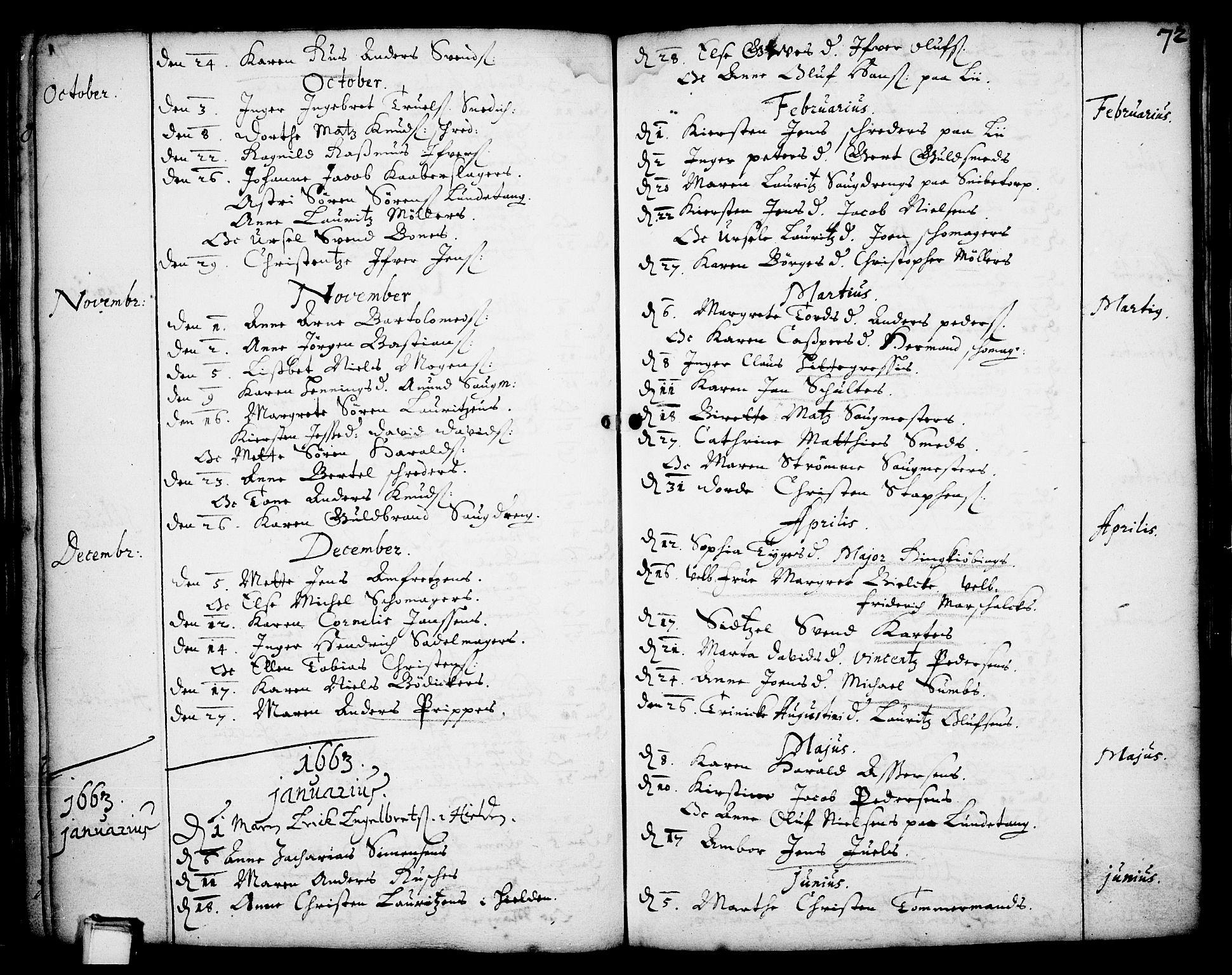 SAKO, Skien kirkebøker, F/Fa/L0001: Ministerialbok nr. 1, 1659-1679, s. 72