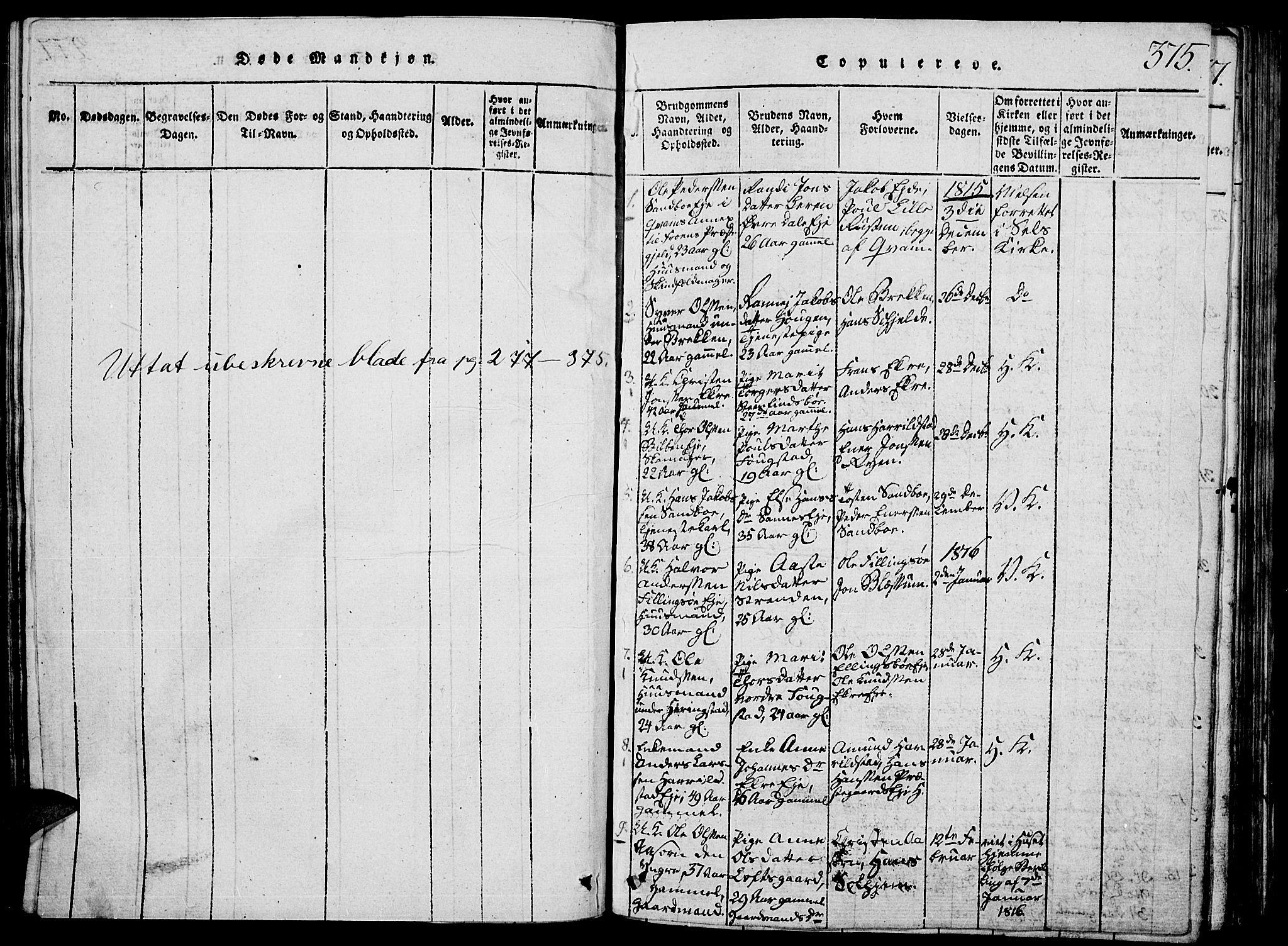 SAH, Vågå prestekontor, Klokkerbok nr. 1, 1815-1827, s. 374-375