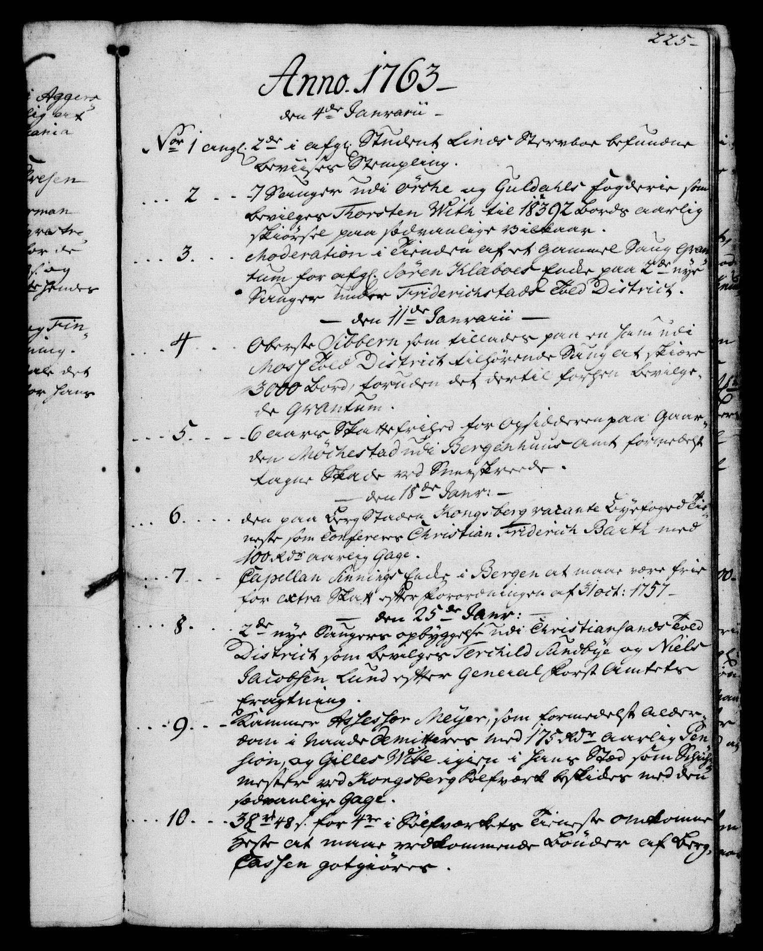 RA, Rentekammeret, Kammerkanselliet, G/Gf/Gfb/L0006: Register til norske relasjons- og resolusjonsprotokoller (merket RK 52.101), 1755-1765, s. 225