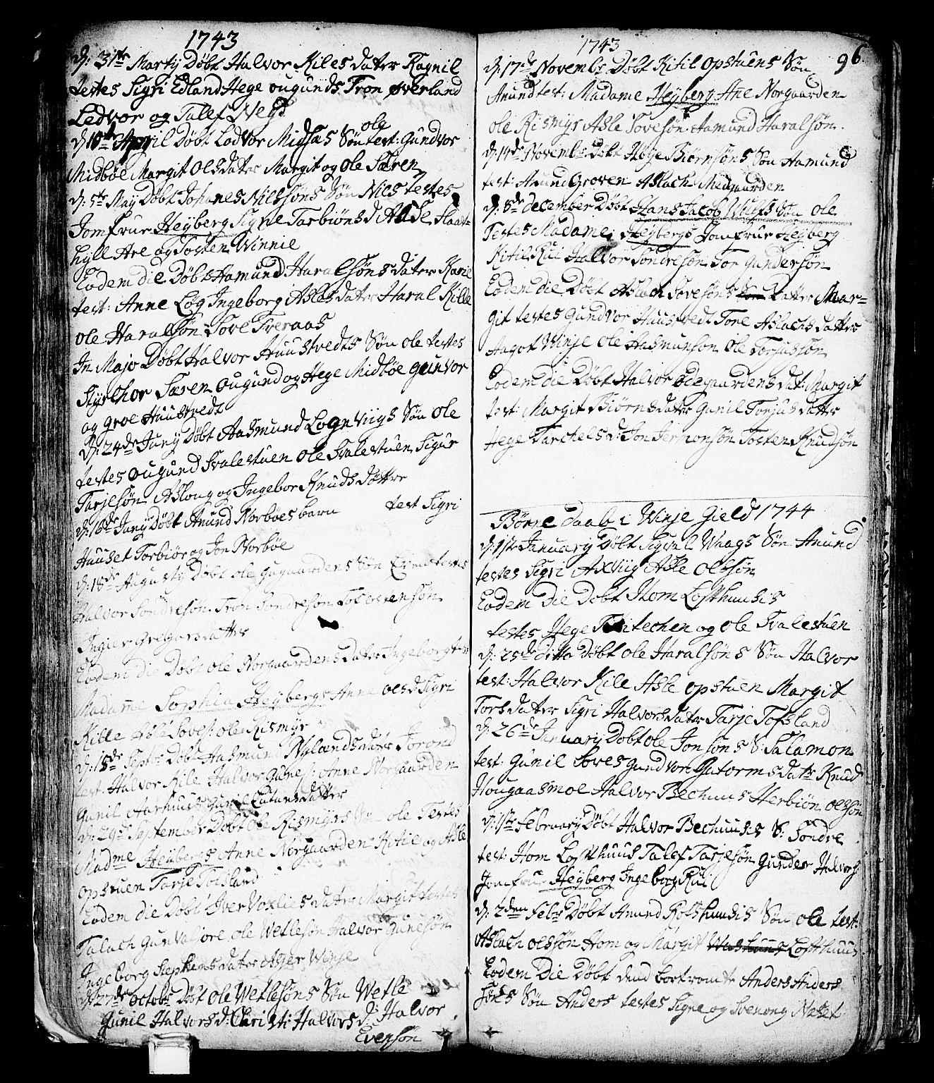 SAKO, Vinje kirkebøker, F/Fa/L0001: Ministerialbok nr. I 1, 1717-1766, s. 96