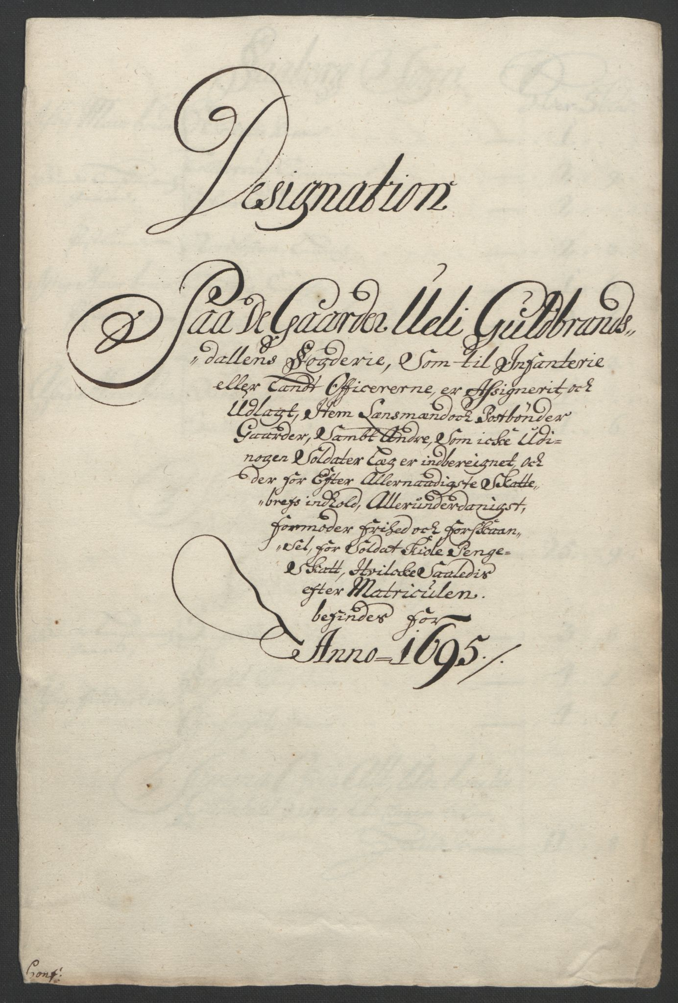 RA, Rentekammeret inntil 1814, Reviderte regnskaper, Fogderegnskap, R17/L1169: Fogderegnskap Gudbrandsdal, 1695, s. 134