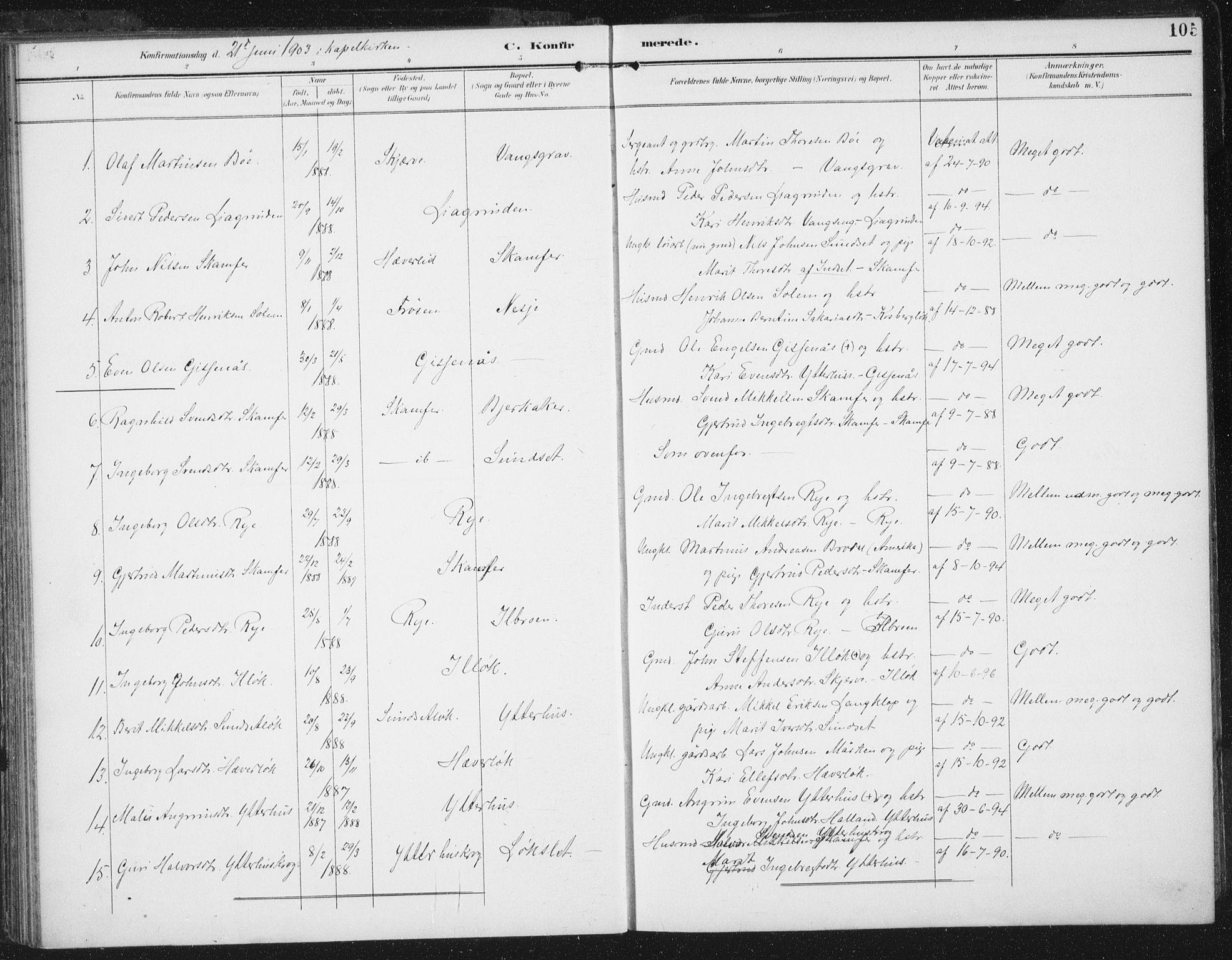 SAT, Ministerialprotokoller, klokkerbøker og fødselsregistre - Sør-Trøndelag, 674/L0872: Ministerialbok nr. 674A04, 1897-1907, s. 105
