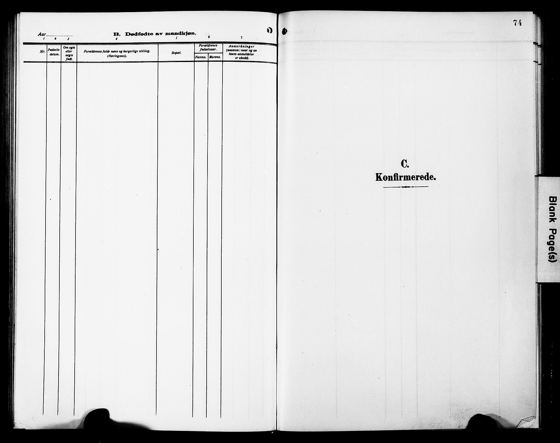 SAT, Ministerialprotokoller, klokkerbøker og fødselsregistre - Sør-Trøndelag, 698/L1168: Klokkerbok nr. 698C05, 1908-1930, s. 74