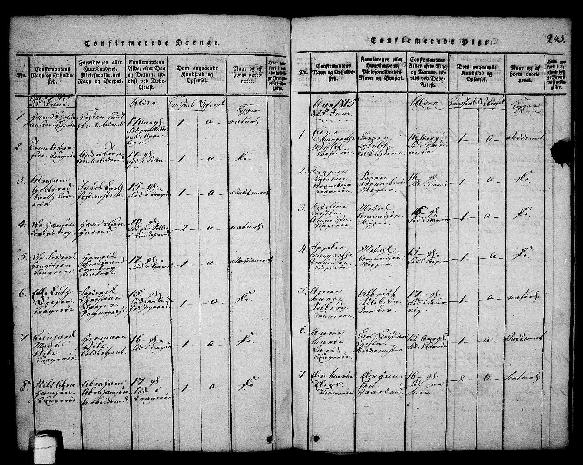 SAKO, Kragerø kirkebøker, G/Ga/L0002: Klokkerbok nr. 2, 1814-1831, s. 245