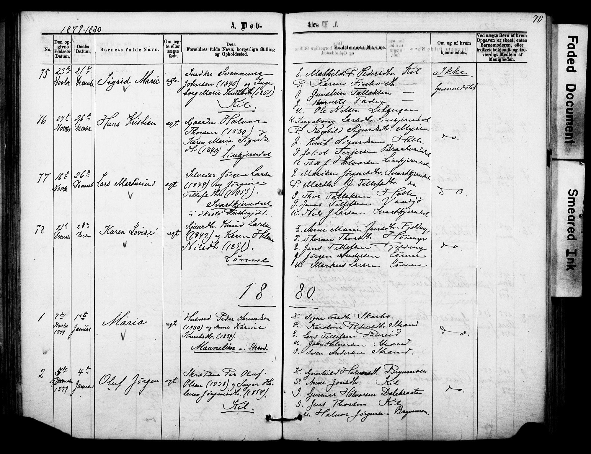 SAKO, Sannidal kirkebøker, F/Fa/L0014: Ministerialbok nr. 14, 1874-1883, s. 70