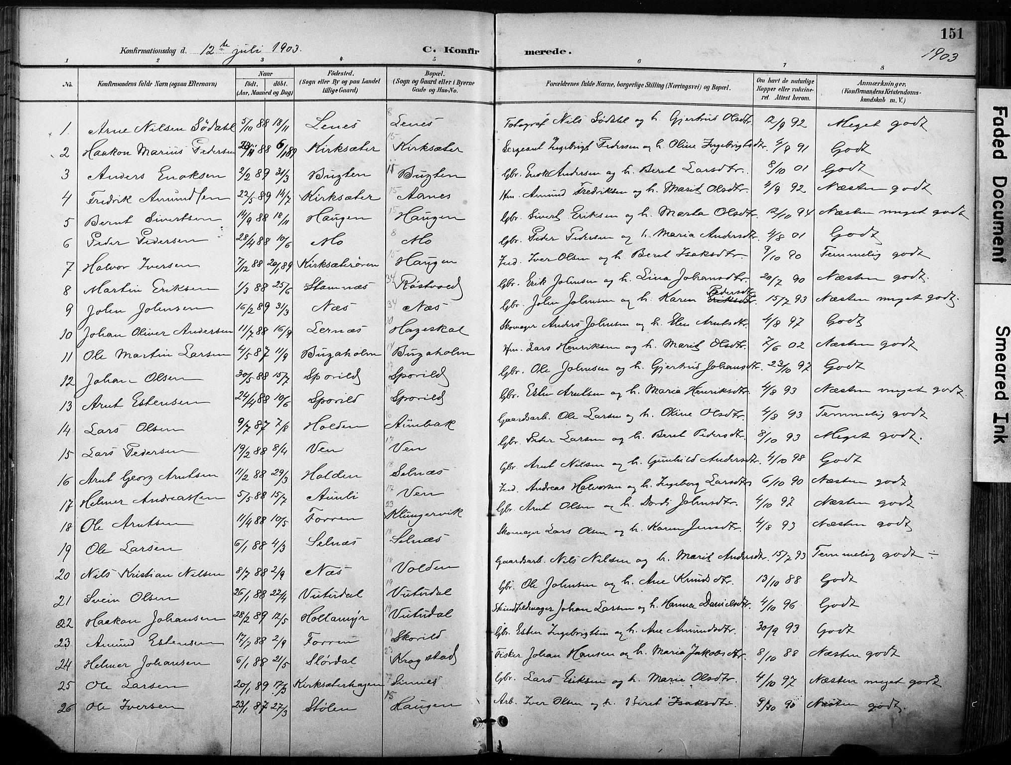 SAT, Ministerialprotokoller, klokkerbøker og fødselsregistre - Sør-Trøndelag, 630/L0497: Ministerialbok nr. 630A10, 1896-1910, s. 151