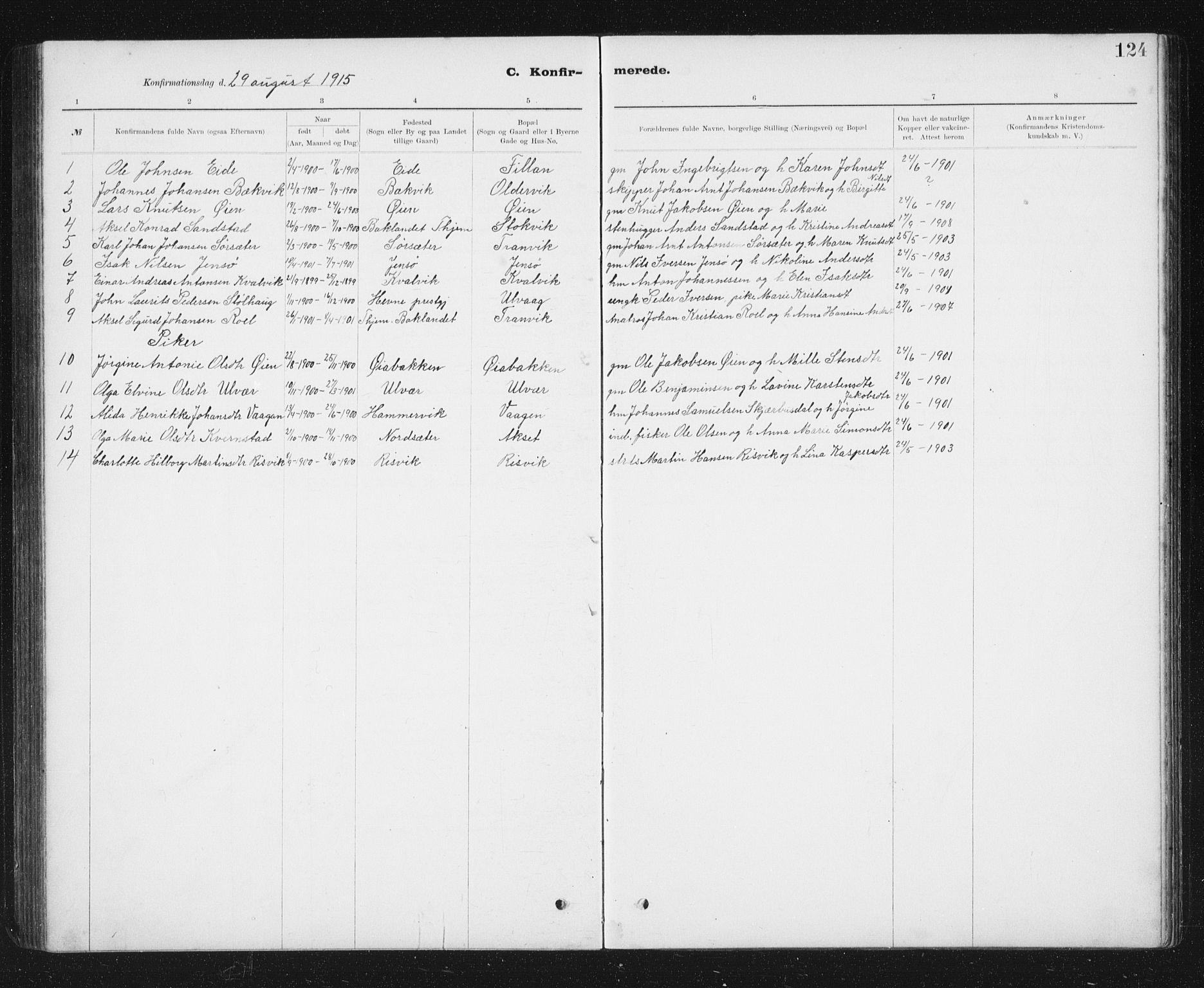 SAT, Ministerialprotokoller, klokkerbøker og fødselsregistre - Sør-Trøndelag, 637/L0563: Klokkerbok nr. 637C04, 1899-1940, s. 124