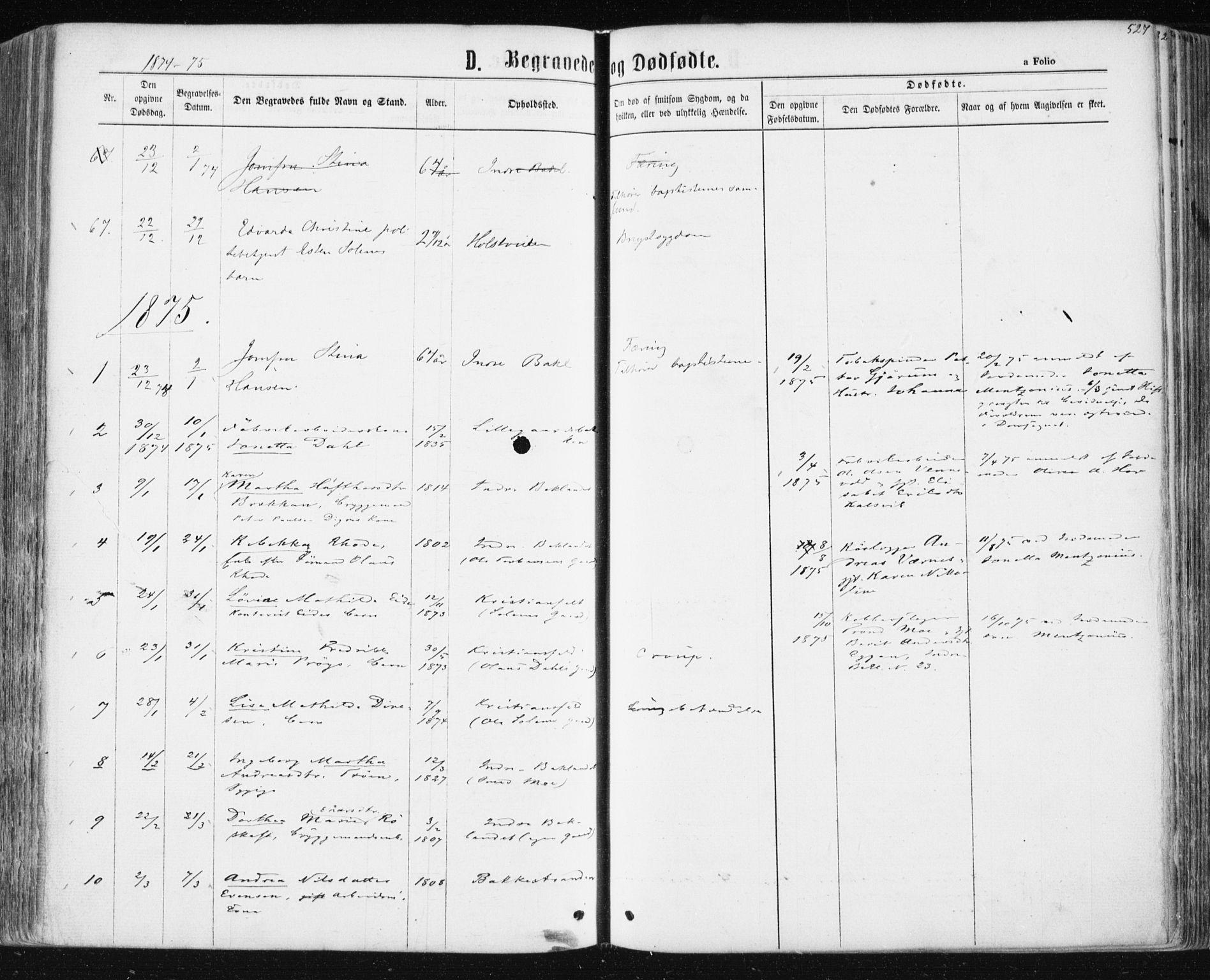 SAT, Ministerialprotokoller, klokkerbøker og fødselsregistre - Sør-Trøndelag, 604/L0186: Ministerialbok nr. 604A07, 1866-1877, s. 527