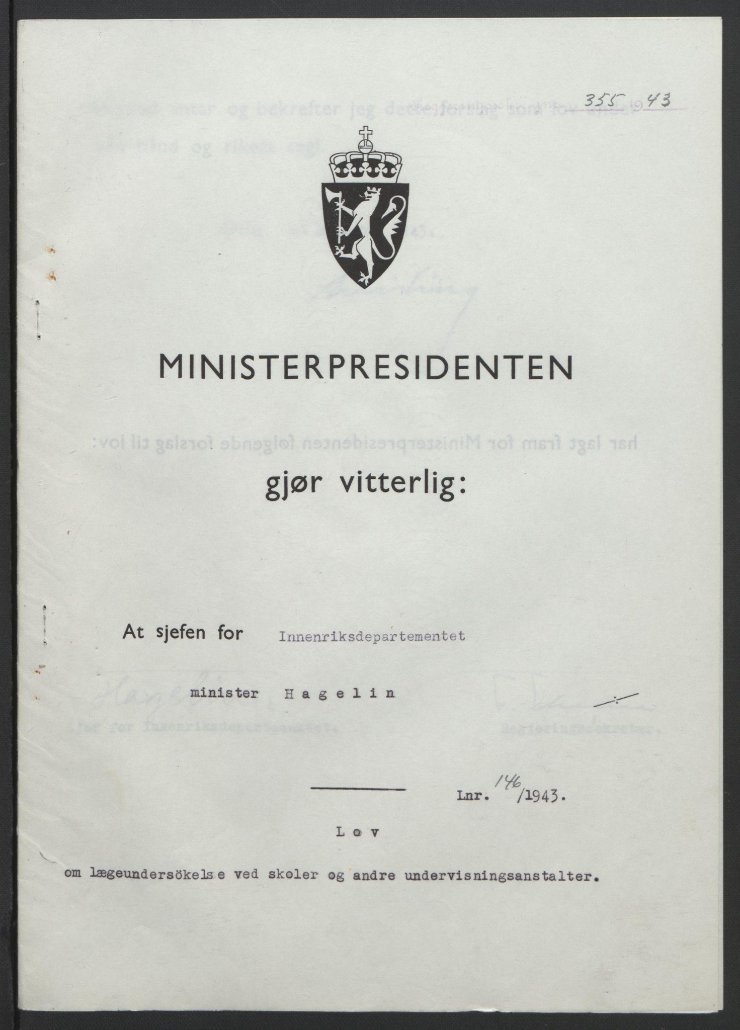 RA, NS-administrasjonen 1940-1945 (Statsrådsekretariatet, de kommisariske statsråder mm), D/Db/L0099: Lover, 1943, s. 680