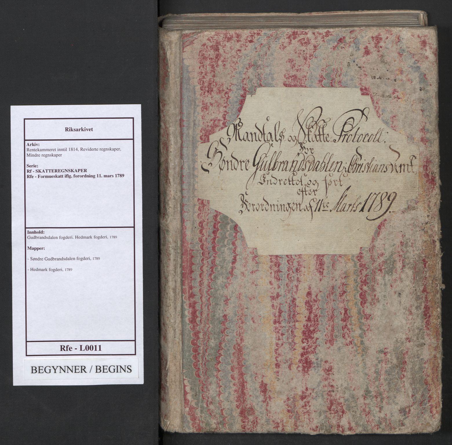 RA, Rentekammeret inntil 1814, Reviderte regnskaper, Mindre regnskaper, Rf/Rfe/L0011: Gudbrandsdalen fogderi. Hedmark fogderi, 1789, s. 1