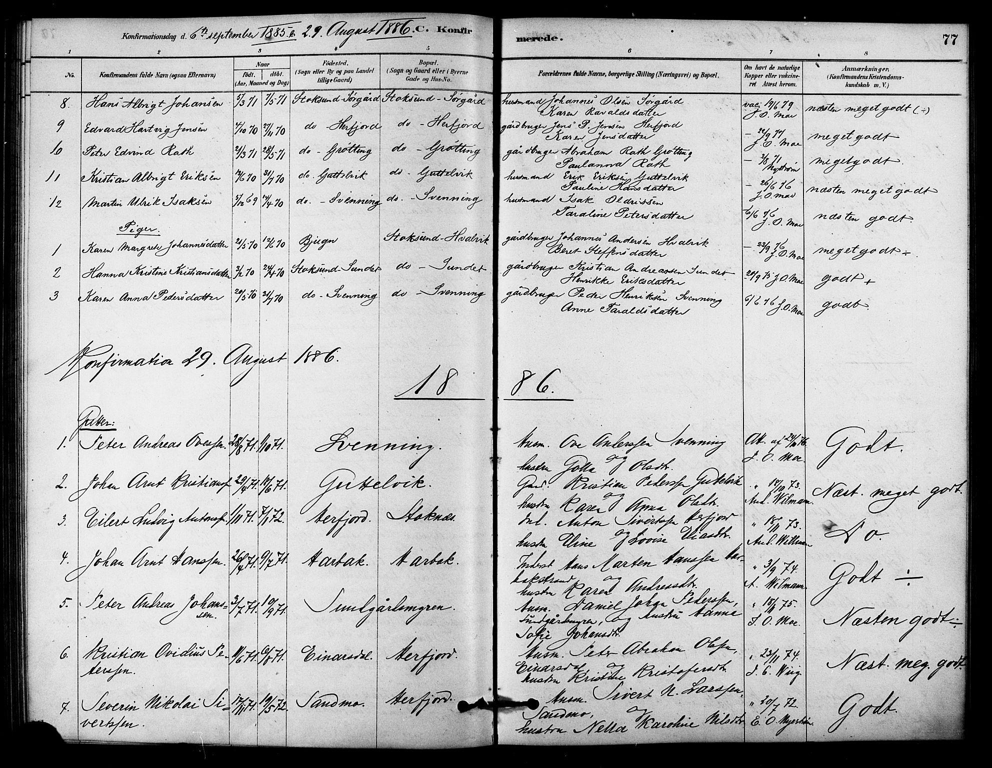 SAT, Ministerialprotokoller, klokkerbøker og fødselsregistre - Sør-Trøndelag, 656/L0692: Ministerialbok nr. 656A01, 1879-1893, s. 77