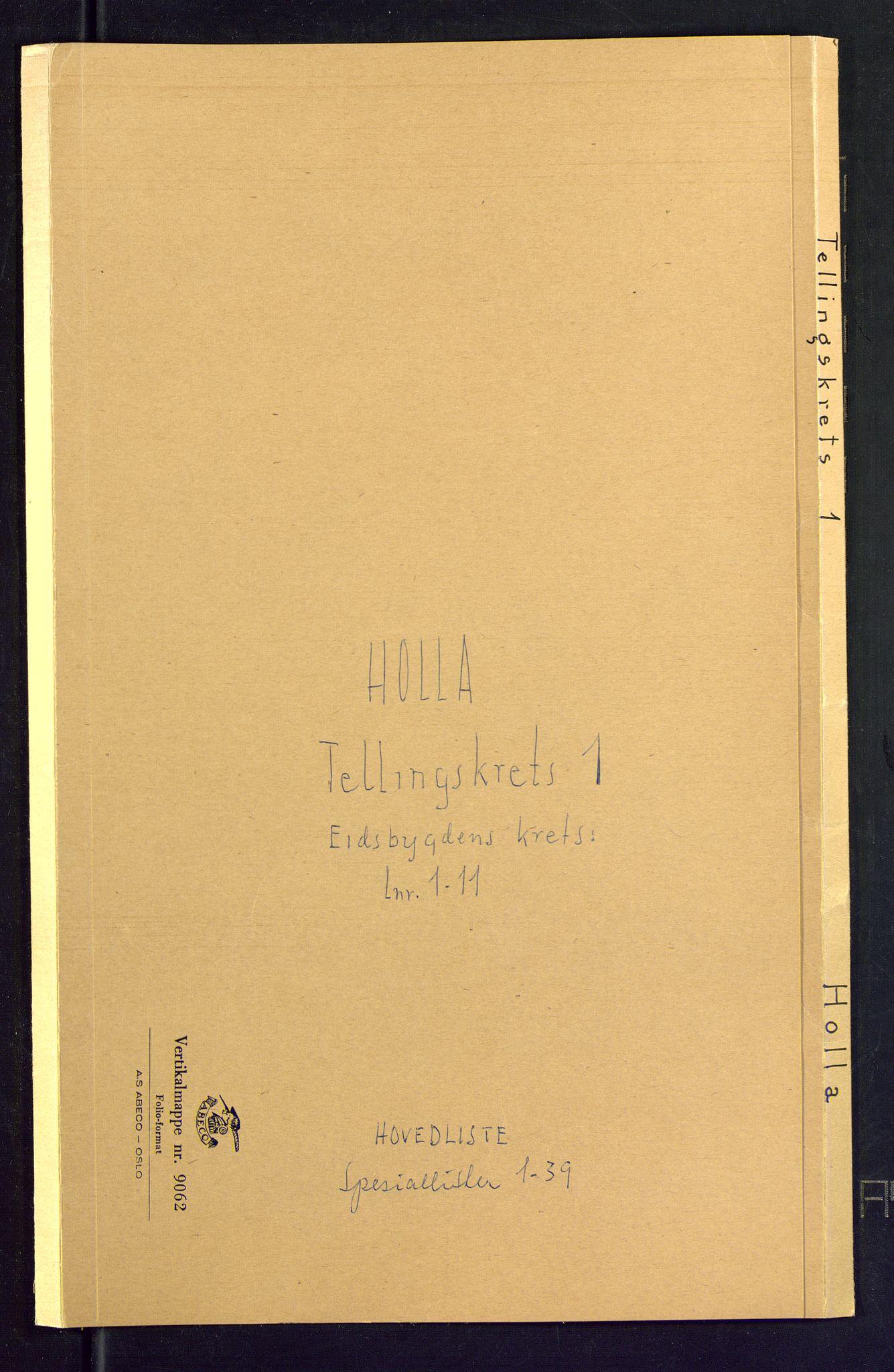 SAKO, Folketelling 1875 for 0819P Holla prestegjeld, 1875, s. 1