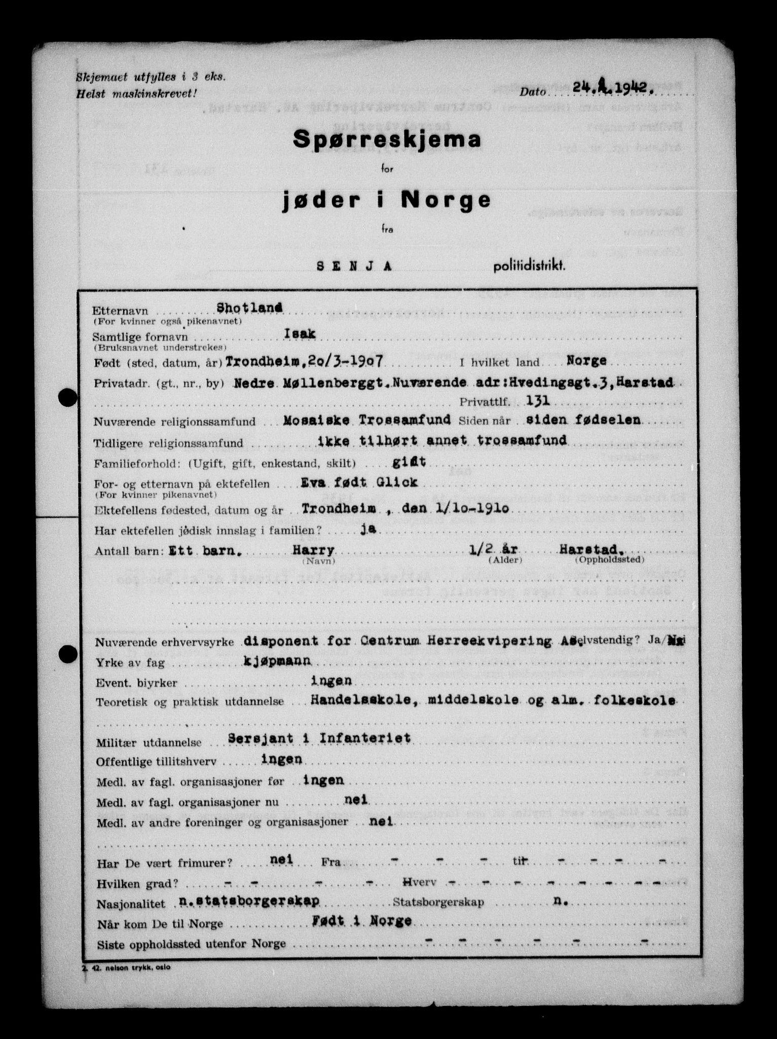 RA, Statspolitiet - Hovedkontoret / Osloavdelingen, G/Ga/L0013: Spørreskjema for jøder i Norge. 1: Sandefjord-Trondheim. 2: Tønsberg- Ålesund.  3: Skriv vedr. jøder A-H.  , 1942-1943, s. 8