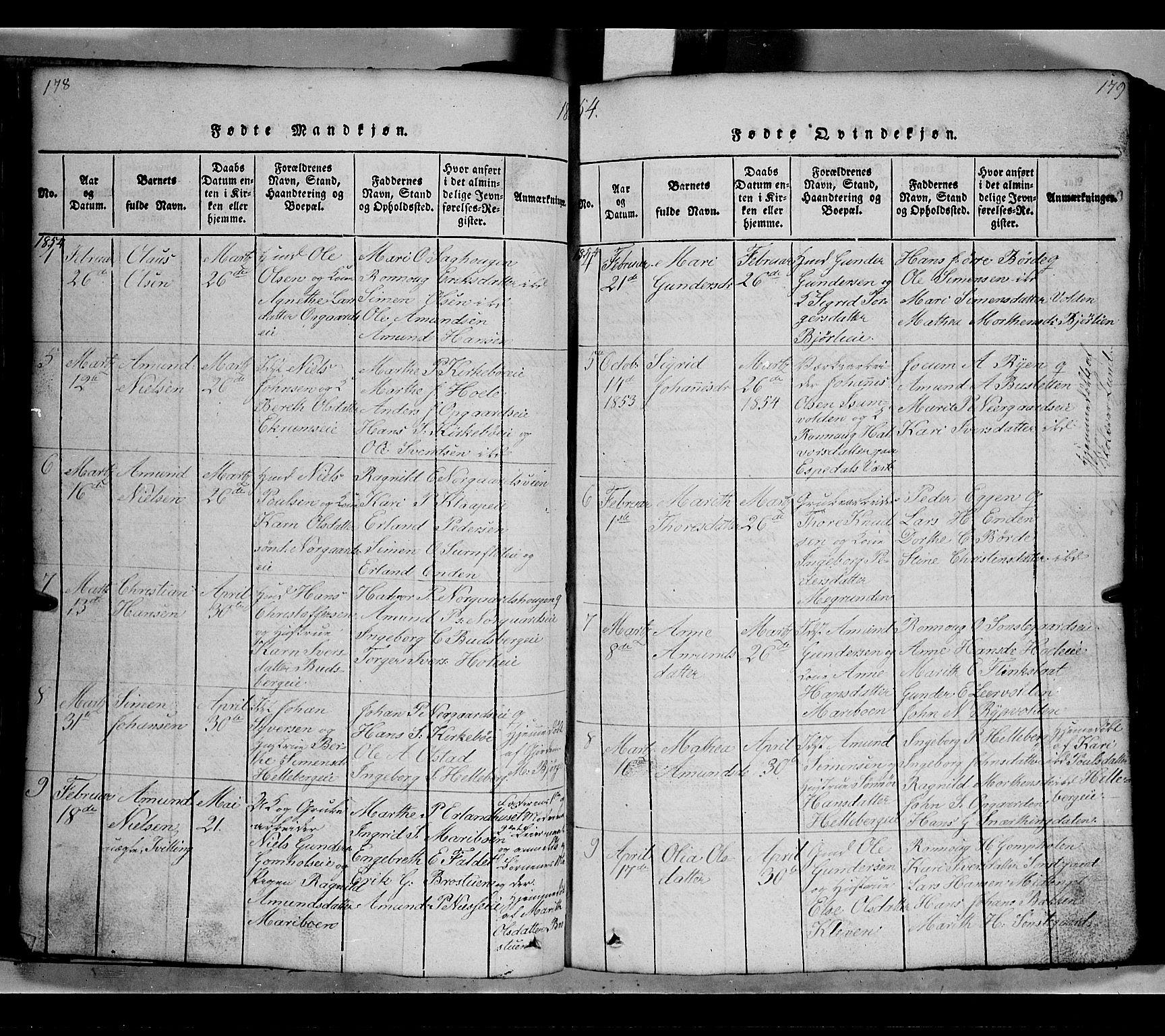 SAH, Gausdal prestekontor, Klokkerbok nr. 2, 1818-1874, s. 178-179