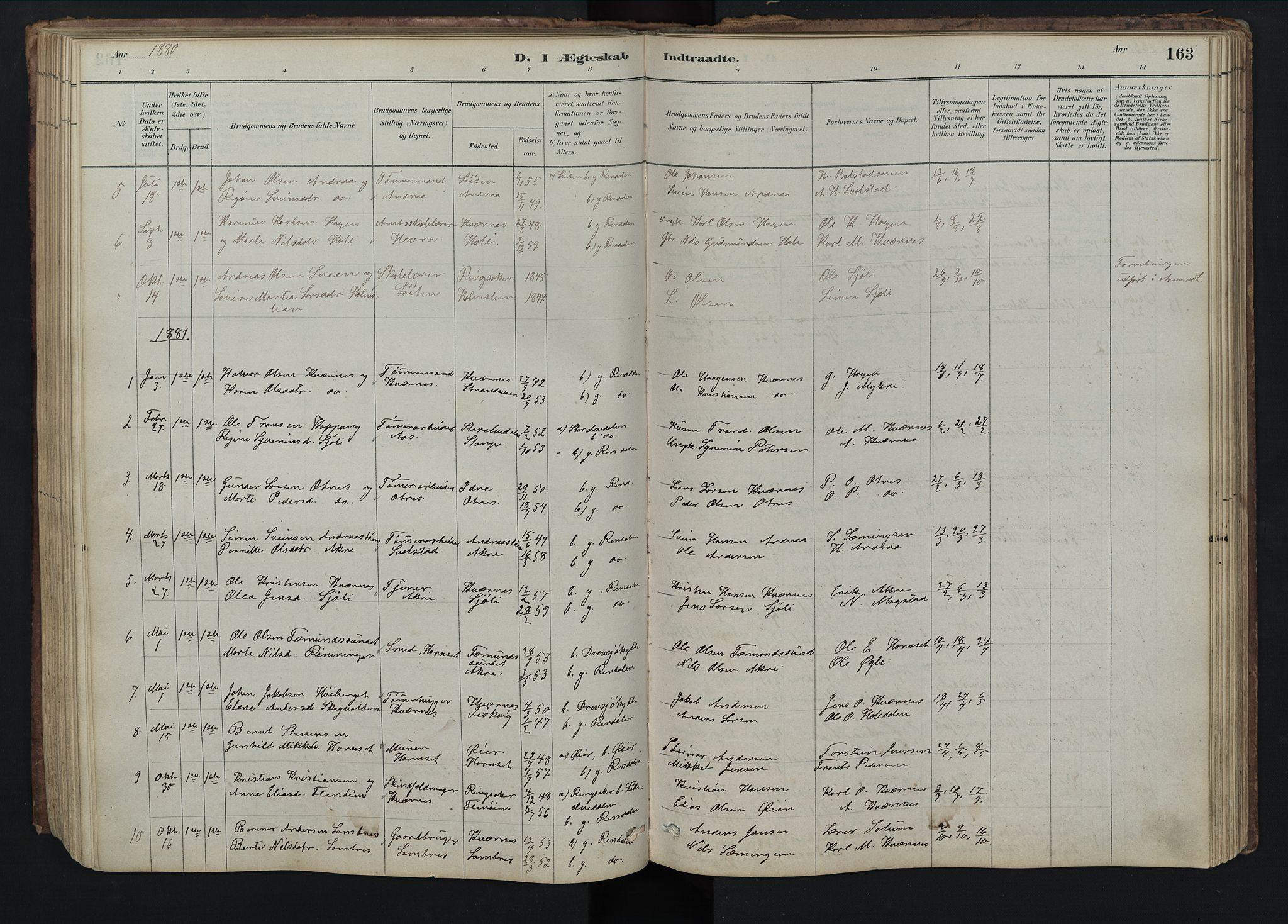 SAH, Rendalen prestekontor, H/Ha/Hab/L0009: Klokkerbok nr. 9, 1879-1902, s. 163