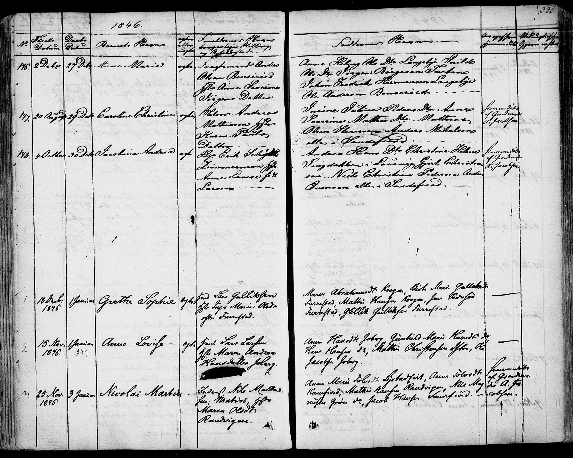 SAKO, Sandar kirkebøker, F/Fa/L0005: Ministerialbok nr. 5, 1832-1847, s. 334-335