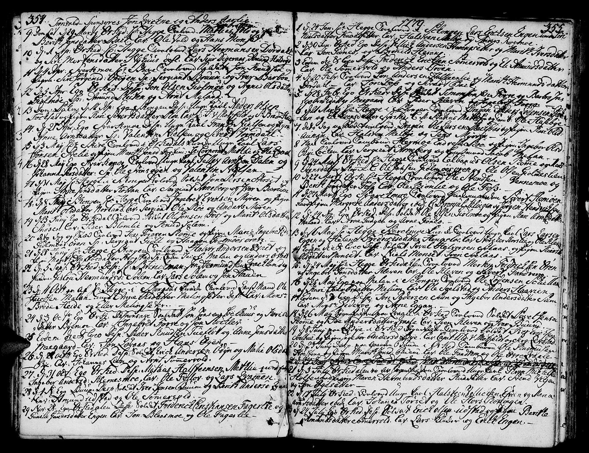 SAT, Ministerialprotokoller, klokkerbøker og fødselsregistre - Sør-Trøndelag, 668/L0802: Ministerialbok nr. 668A02, 1776-1799, s. 354-355