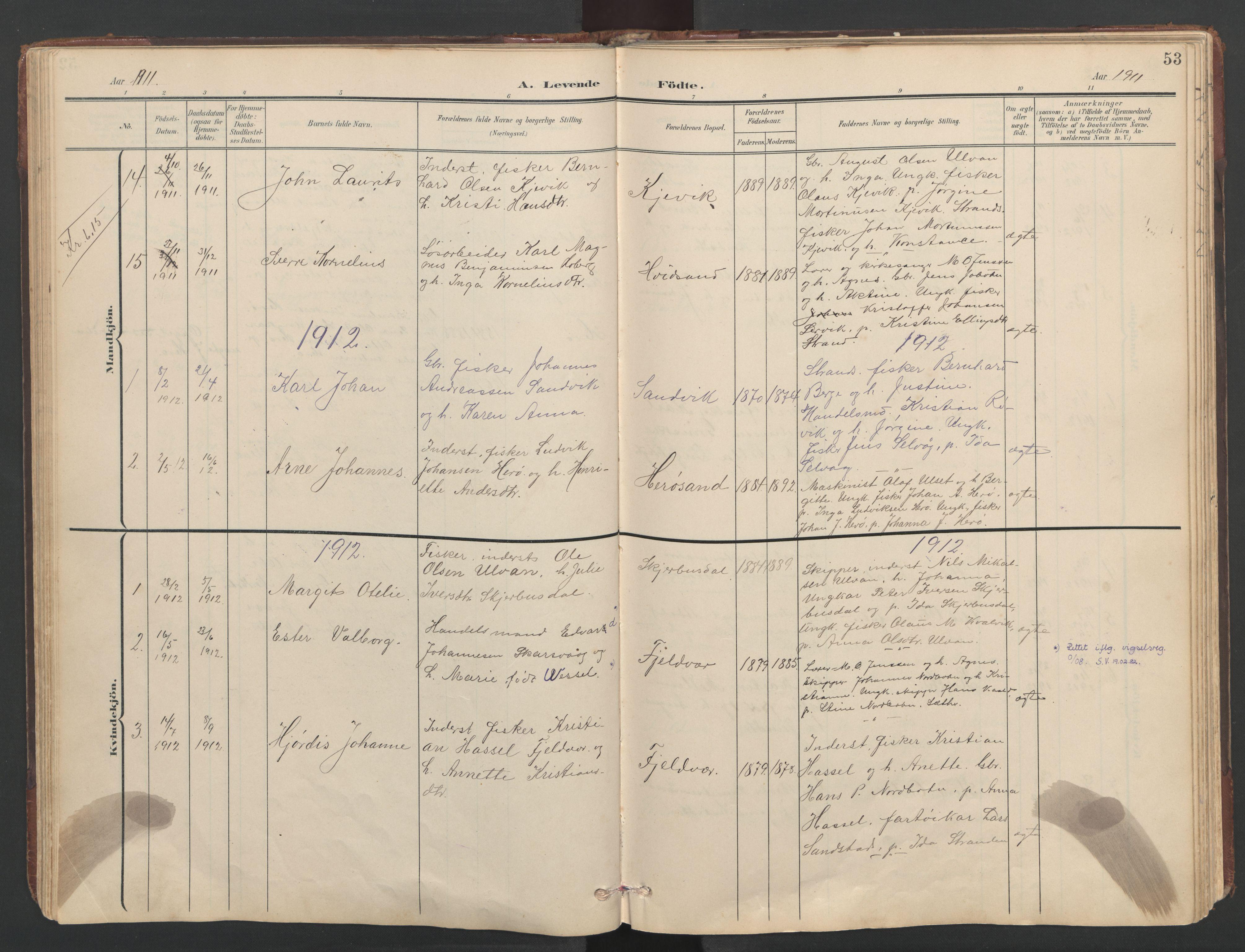 SAT, Ministerialprotokoller, klokkerbøker og fødselsregistre - Sør-Trøndelag, 638/L0571: Klokkerbok nr. 638C03, 1901-1930, s. 53
