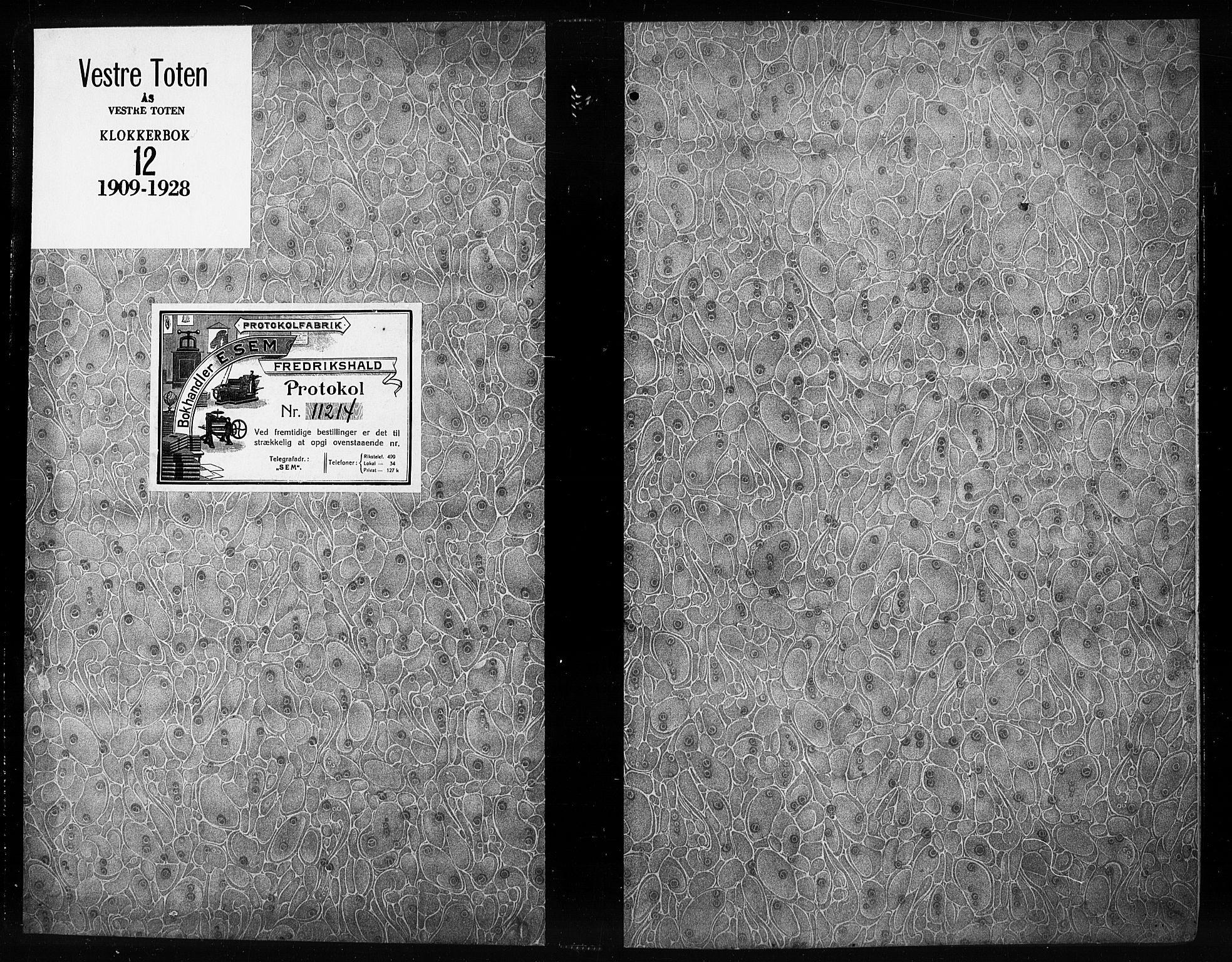 SAH, Vestre Toten prestekontor, Klokkerbok nr. 12, 1909-1928