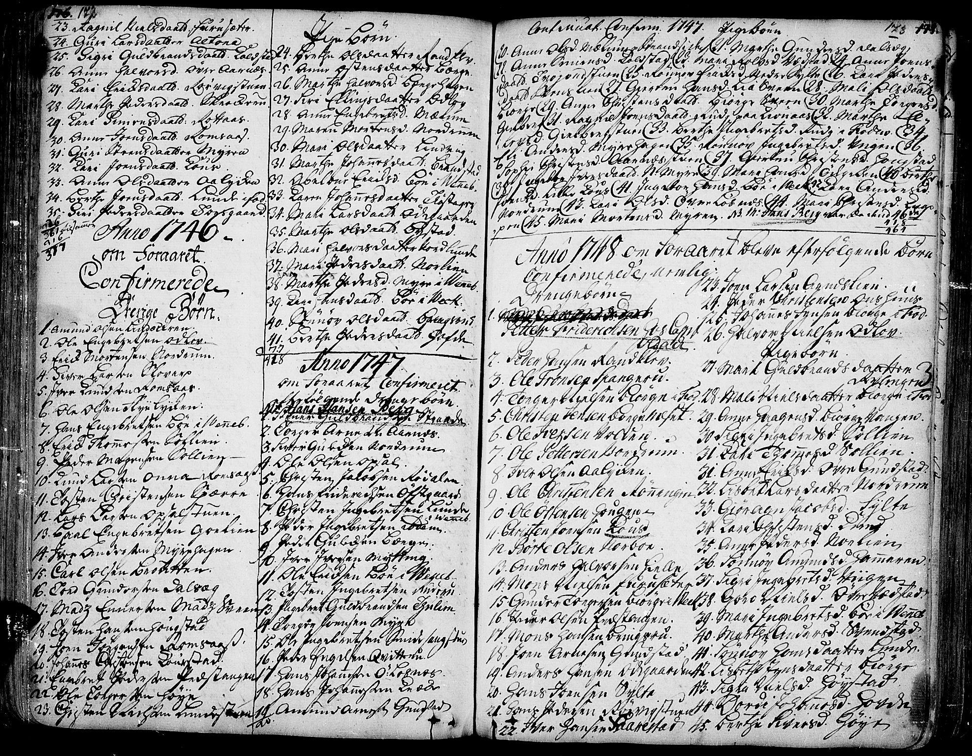 SAH, Ringebu prestekontor, Ministerialbok nr. 2, 1734-1780, s. 172-173