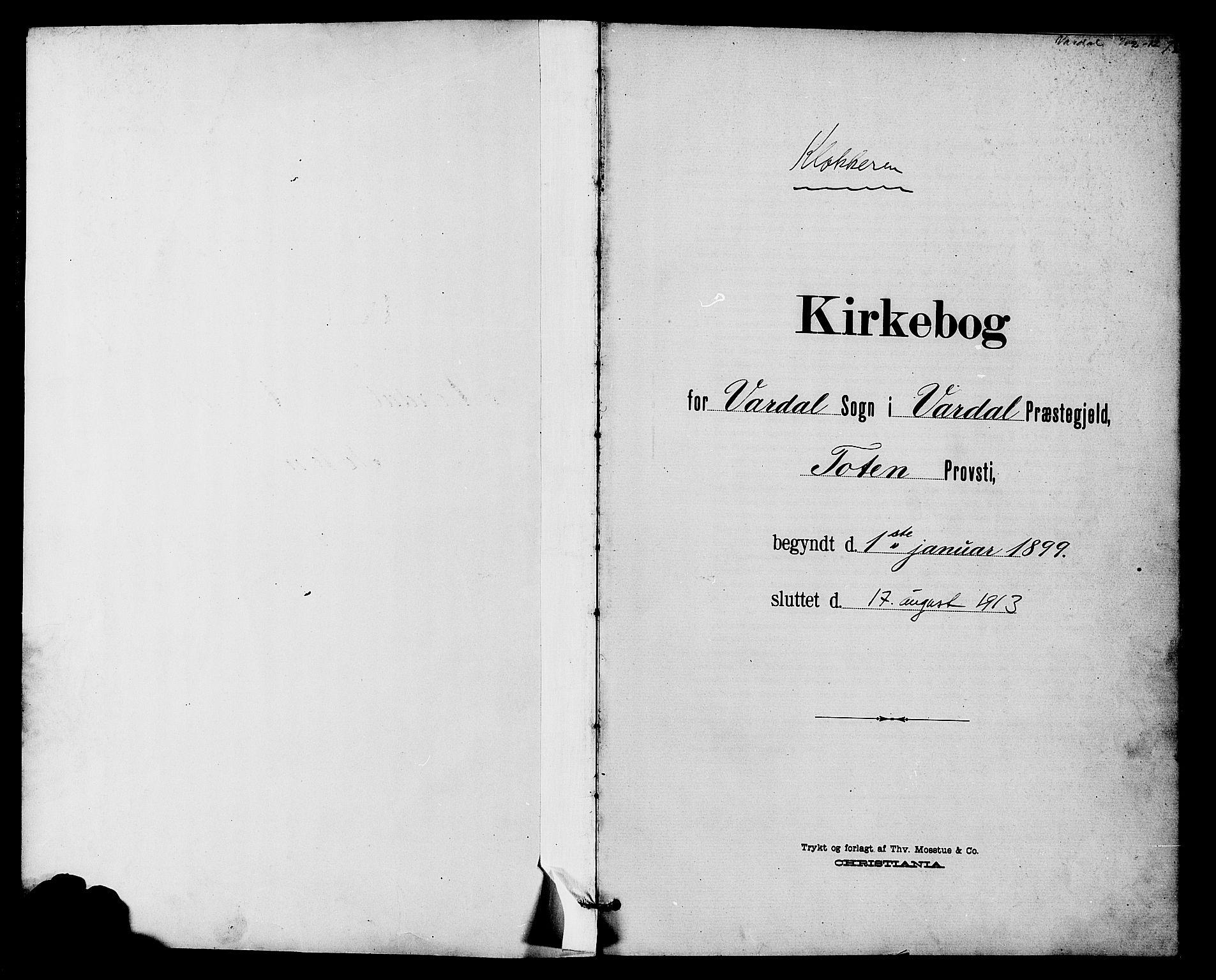 SAH, Vardal prestekontor, H/Ha/Hab/L0011: Klokkerbok nr. 11, 1899-1913, s. 1