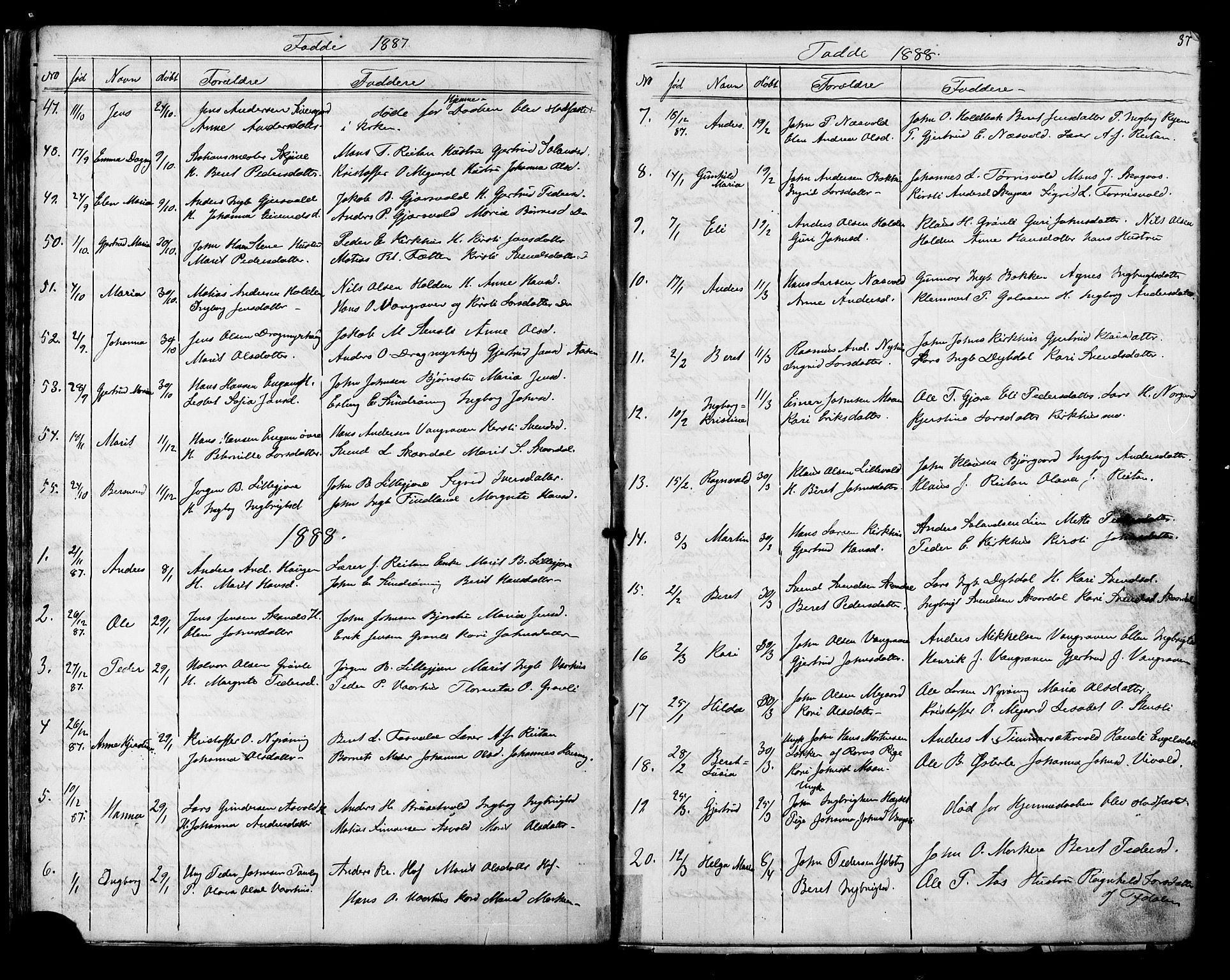 SAT, Ministerialprotokoller, klokkerbøker og fødselsregistre - Sør-Trøndelag, 686/L0985: Klokkerbok nr. 686C01, 1871-1933, s. 37