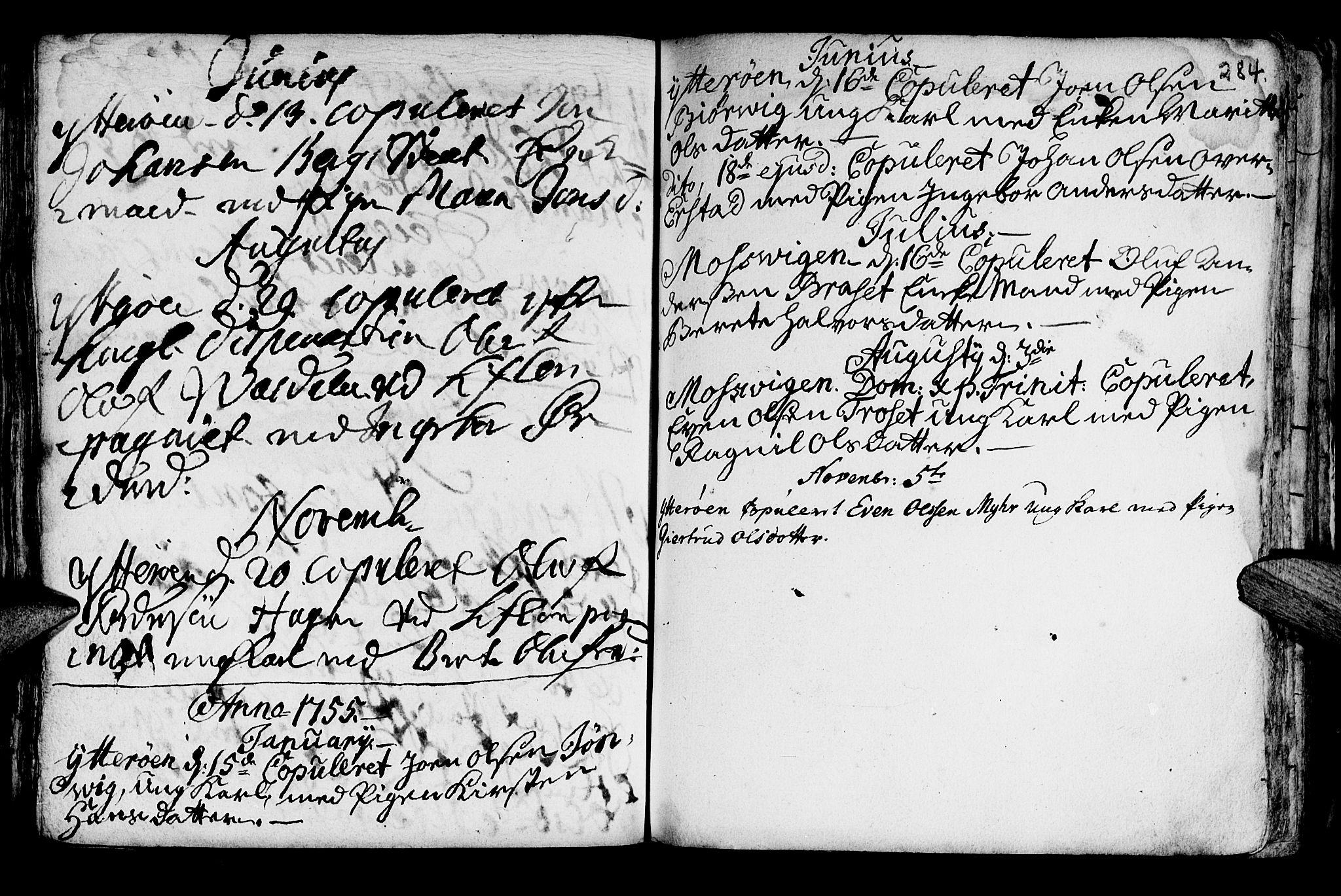SAT, Ministerialprotokoller, klokkerbøker og fødselsregistre - Nord-Trøndelag, 722/L0215: Ministerialbok nr. 722A02, 1718-1755, s. 284