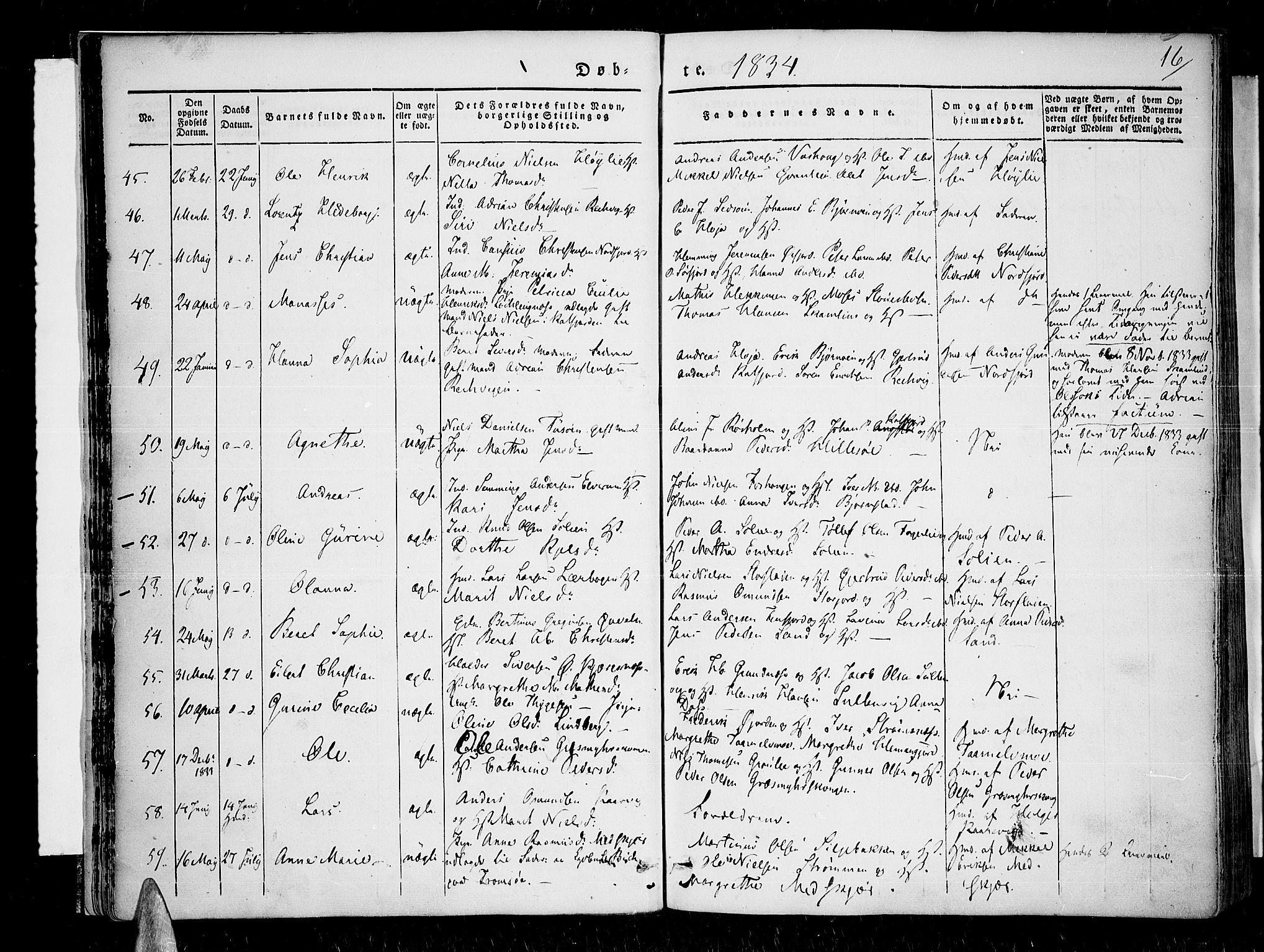 SATØ, Lenvik sokneprestembete, H/Ha: Ministerialbok nr. 4, 1832-1844, s. 16
