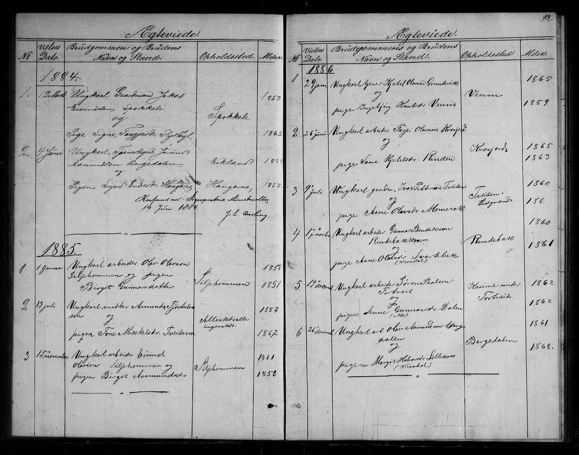 SAKO, Fyresdal kirkebøker, G/Gb/L0001: Klokkerbok nr. II 1, 1864-1890, s. 93