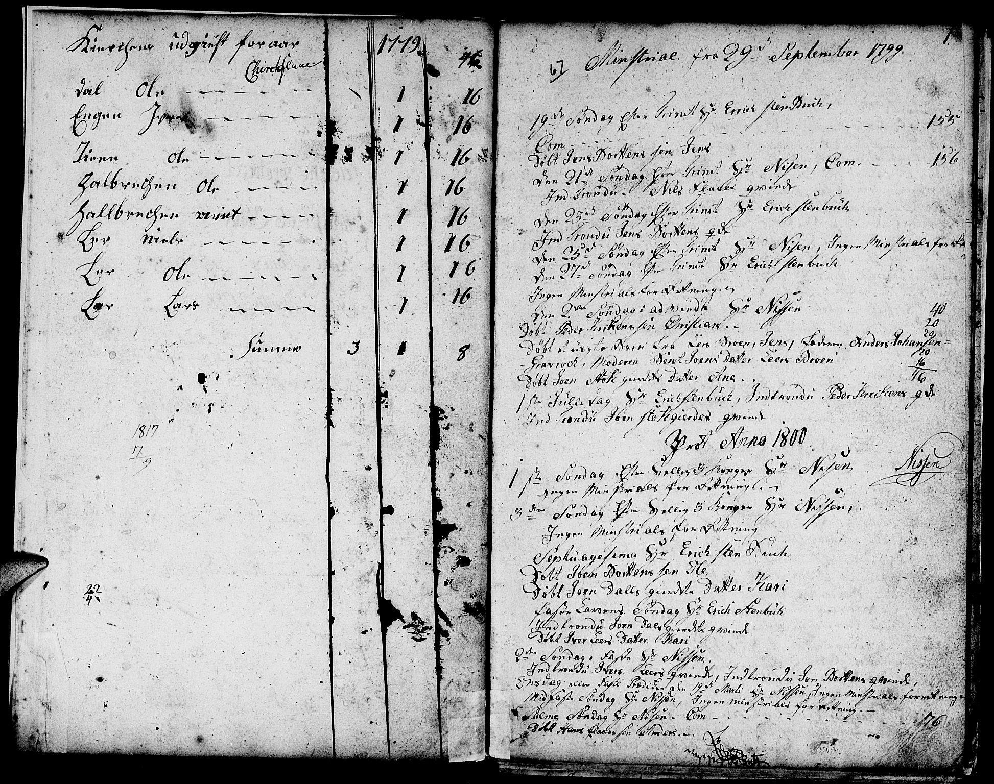 SAT, Ministerialprotokoller, klokkerbøker og fødselsregistre - Sør-Trøndelag, 693/L1120: Klokkerbok nr. 693C01, 1799-1816, s. 0-1
