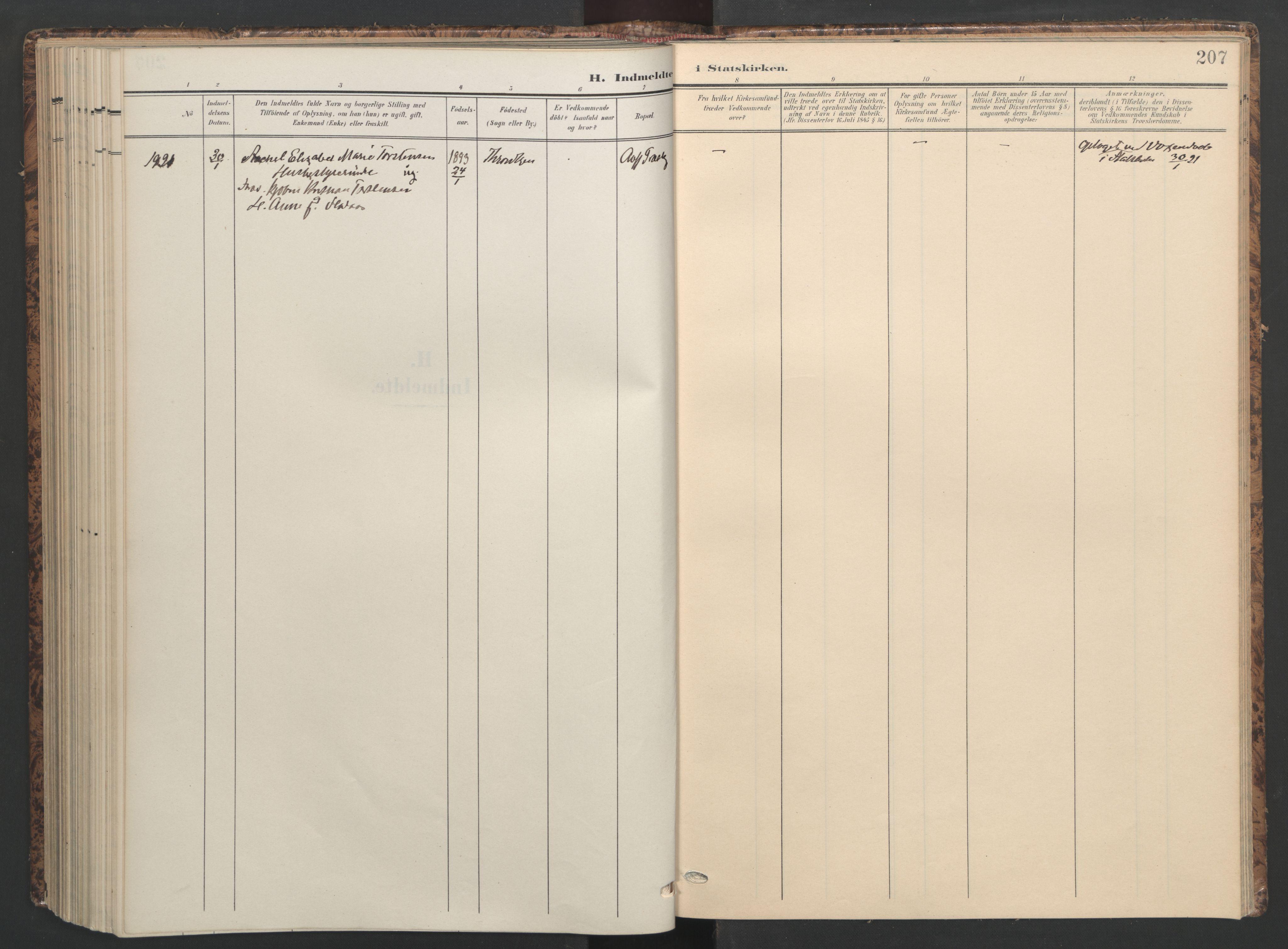 SAT, Ministerialprotokoller, klokkerbøker og fødselsregistre - Sør-Trøndelag, 655/L0682: Ministerialbok nr. 655A11, 1908-1922, s. 207