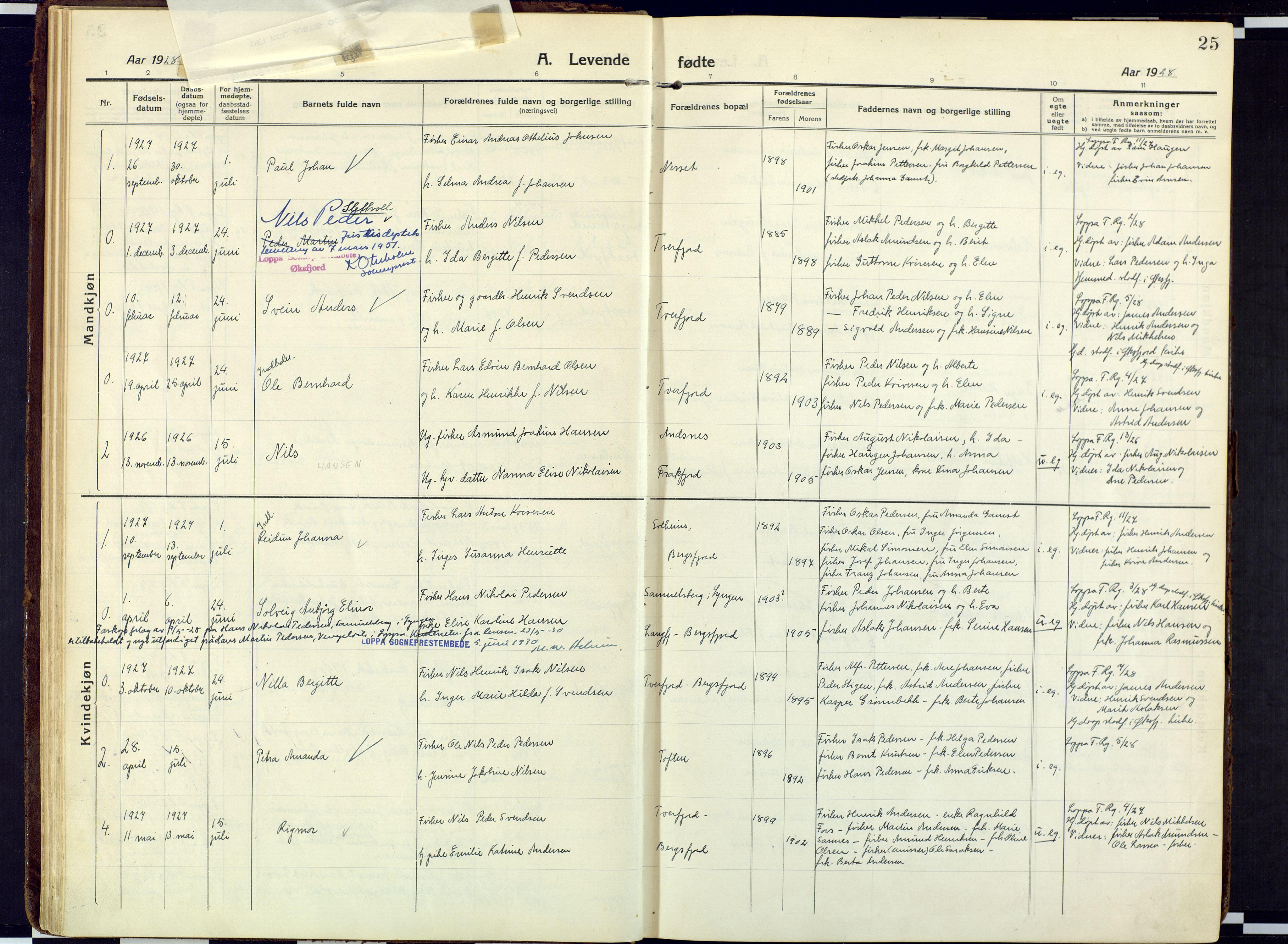 SATØ, Loppa sokneprestkontor, H/Ha/L0013kirke: Ministerialbok nr. 13, 1920-1932, s. 25