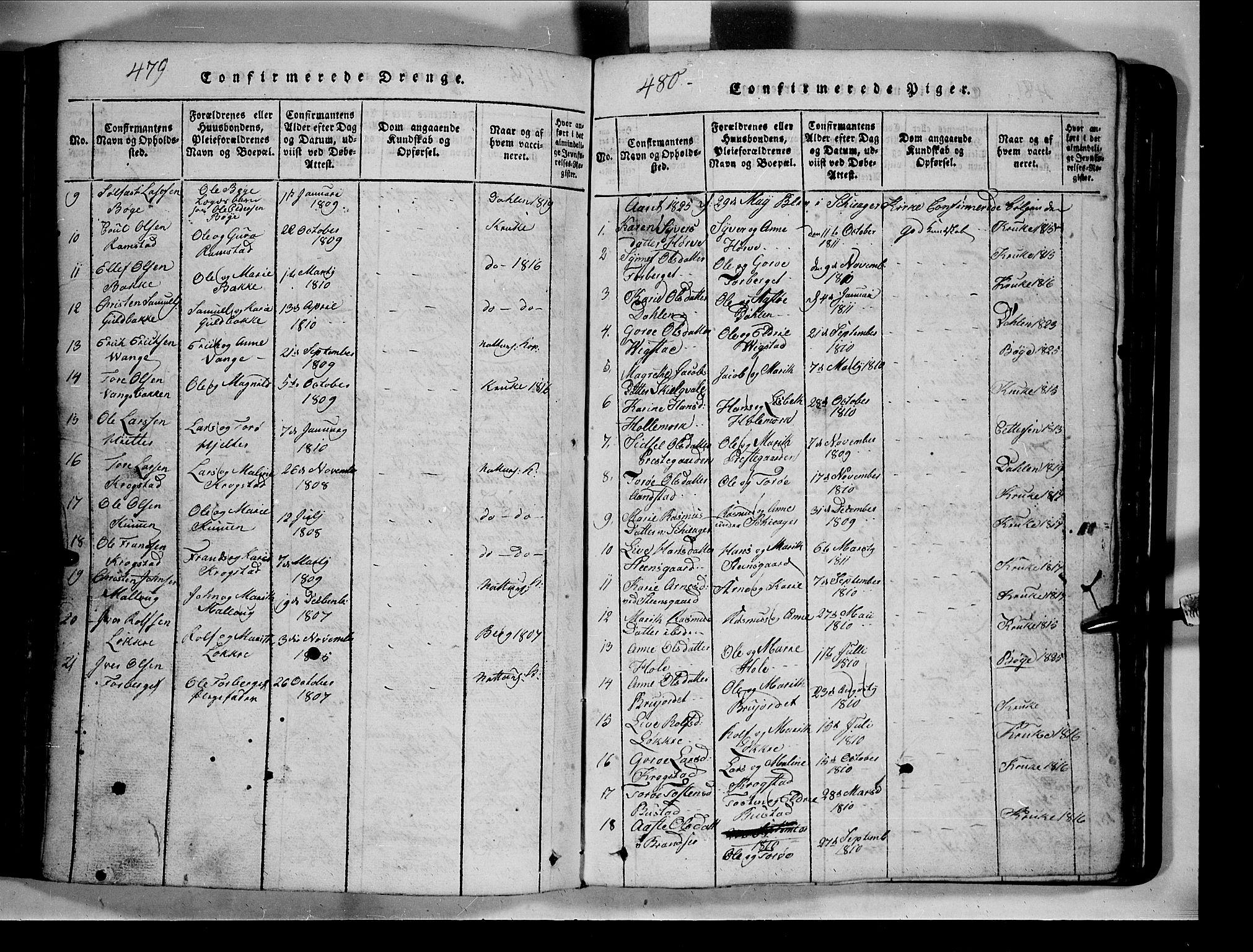 SAH, Lom prestekontor, L/L0003: Klokkerbok nr. 3, 1815-1844, s. 479-480