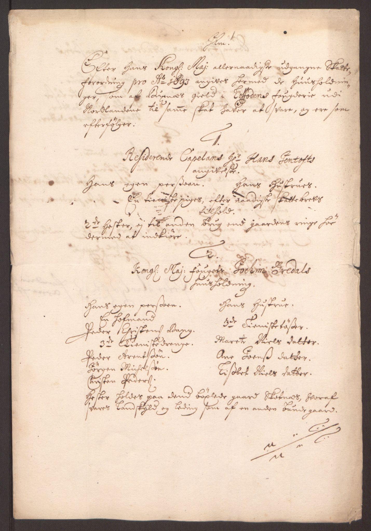 RA, Rentekammeret inntil 1814, Reviderte regnskaper, Fogderegnskap, R67/L4675: Fogderegnskap Vesterålen, Andenes og Lofoten, 1691-1693, s. 287