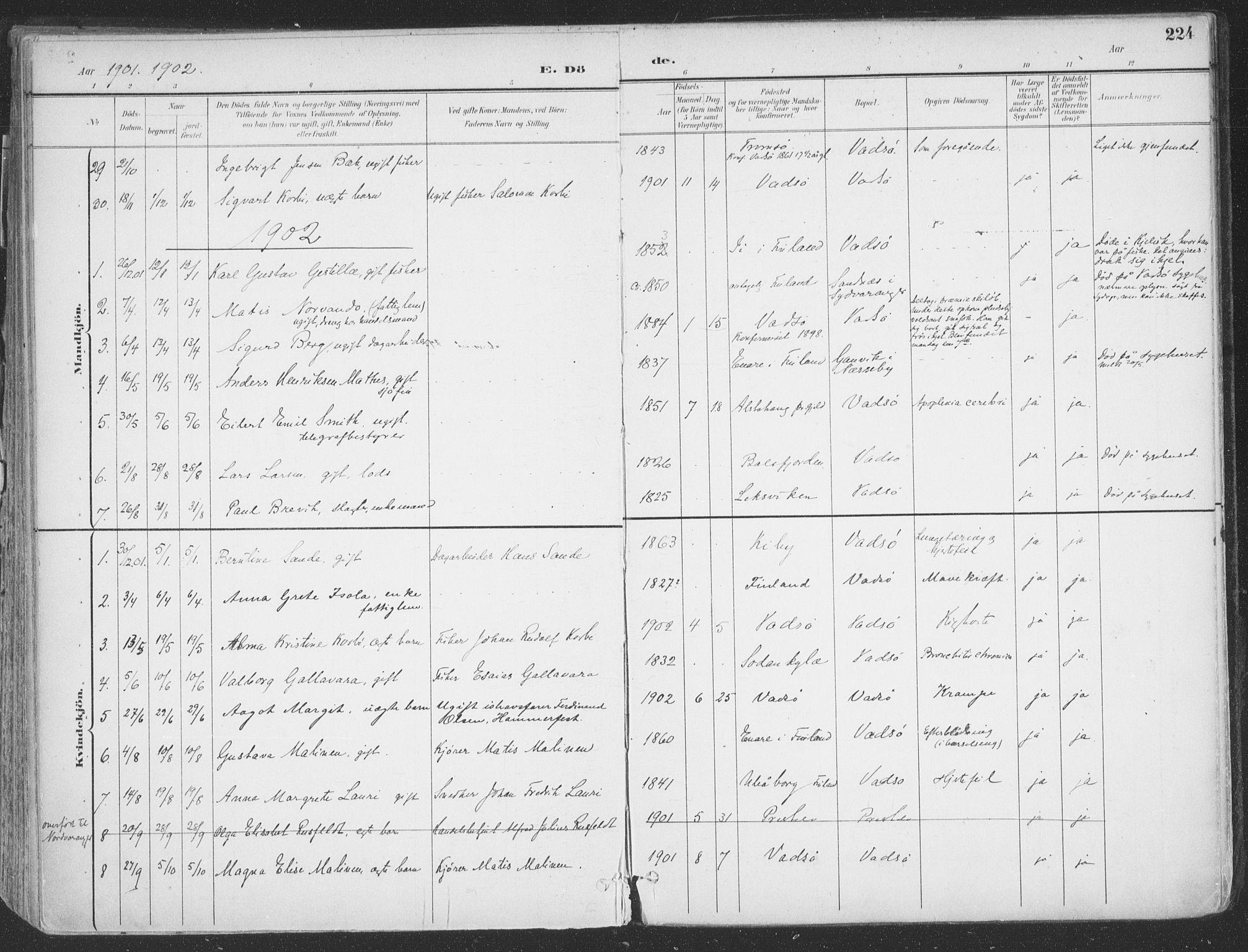 SATØ, Vadsø sokneprestkontor, H/Ha/L0007kirke: Ministerialbok nr. 7, 1896-1916, s. 224