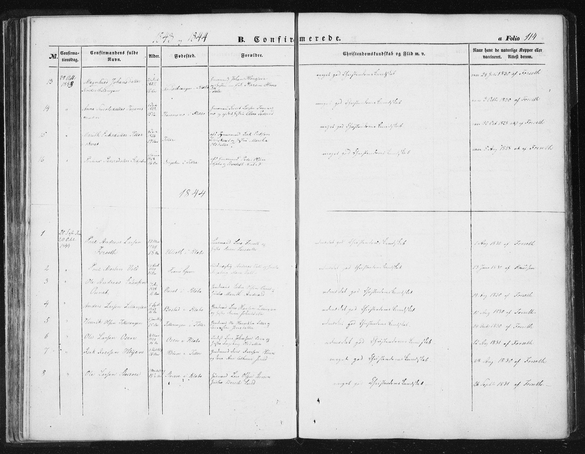 SAT, Ministerialprotokoller, klokkerbøker og fødselsregistre - Sør-Trøndelag, 618/L0441: Ministerialbok nr. 618A05, 1843-1862, s. 114