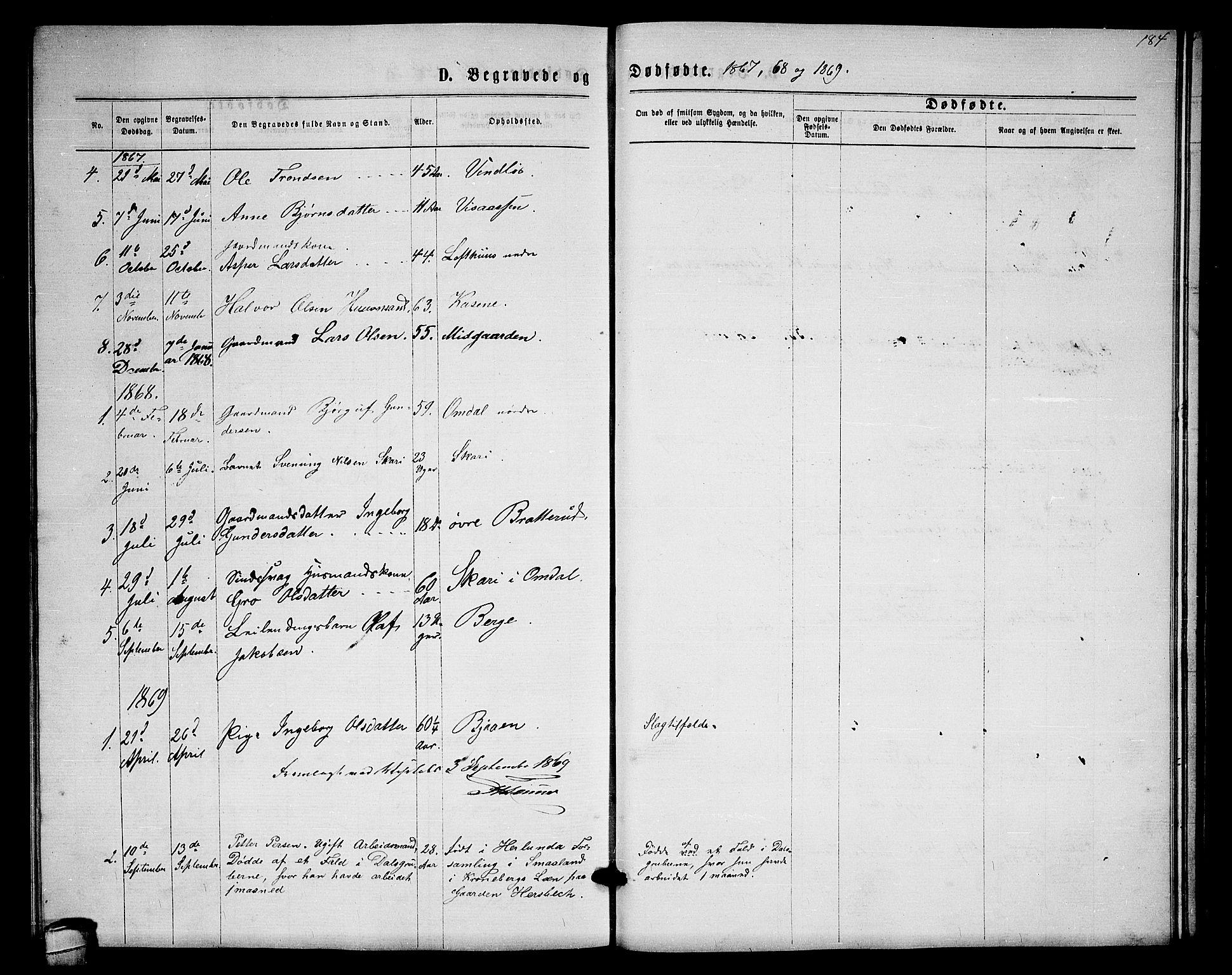 SAKO, Lårdal kirkebøker, G/Gb/L0002: Klokkerbok nr. II 2, 1865-1888, s. 184