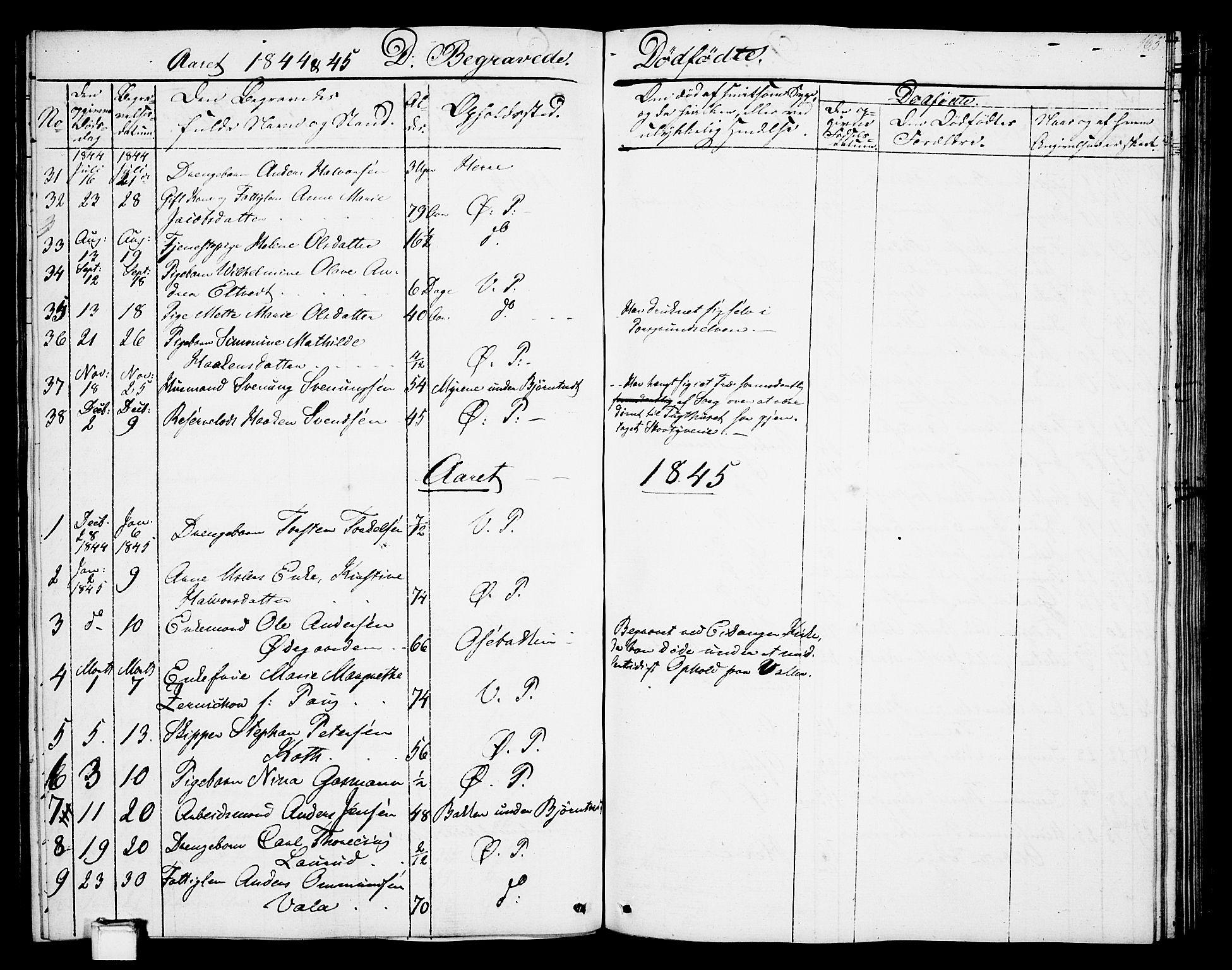 SAKO, Porsgrunn kirkebøker , G/Gb/L0003: Klokkerbok nr. II 3, 1841-1852, s. 165