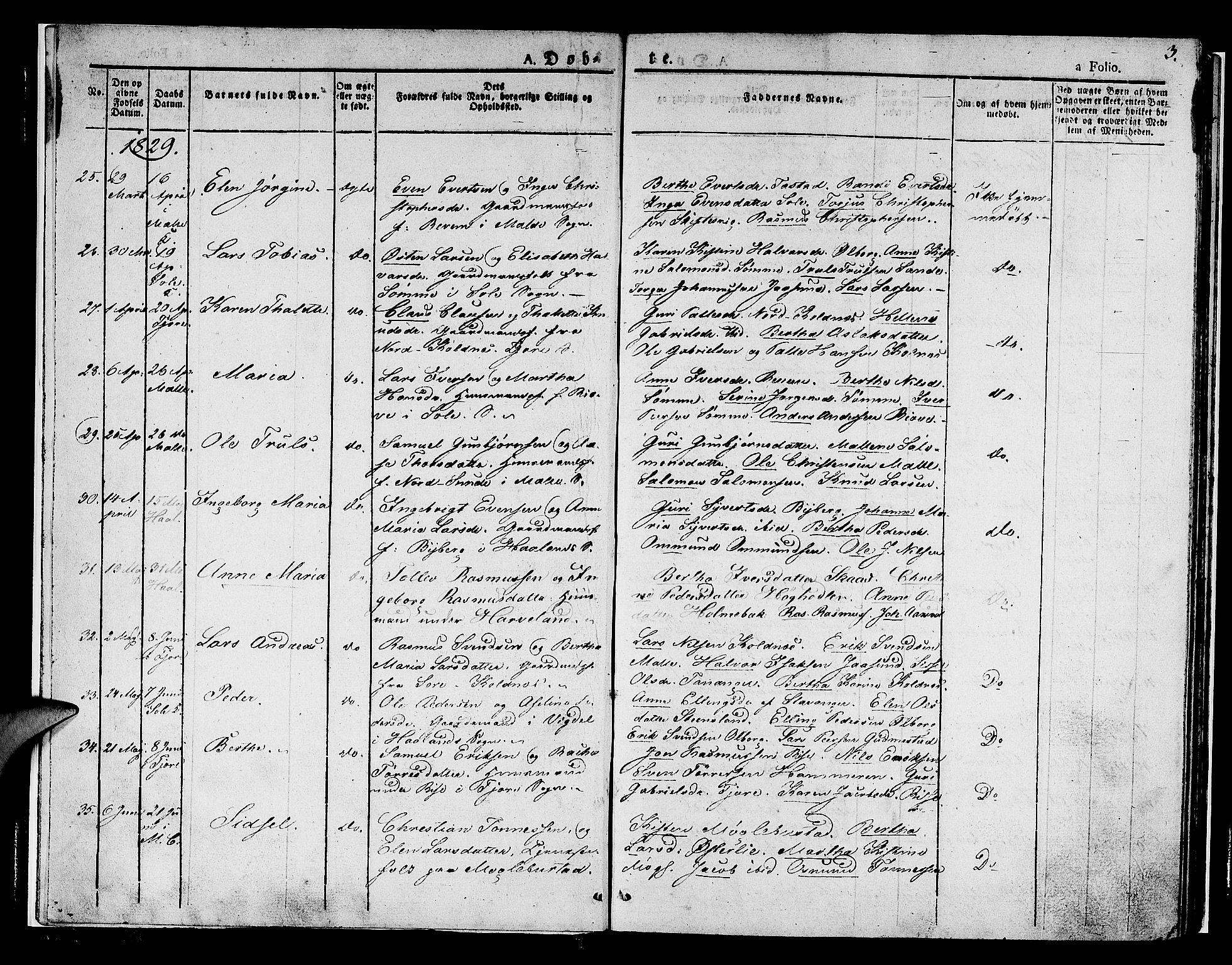 SAST, Håland sokneprestkontor, 30BA/L0005: Ministerialbok nr. A 5, 1829-1841, s. 3