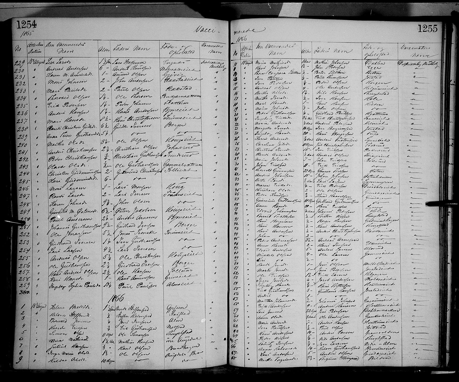 SAH, Gran prestekontor, Ministerialbok nr. 12, 1856-1874, s. 1254-1255