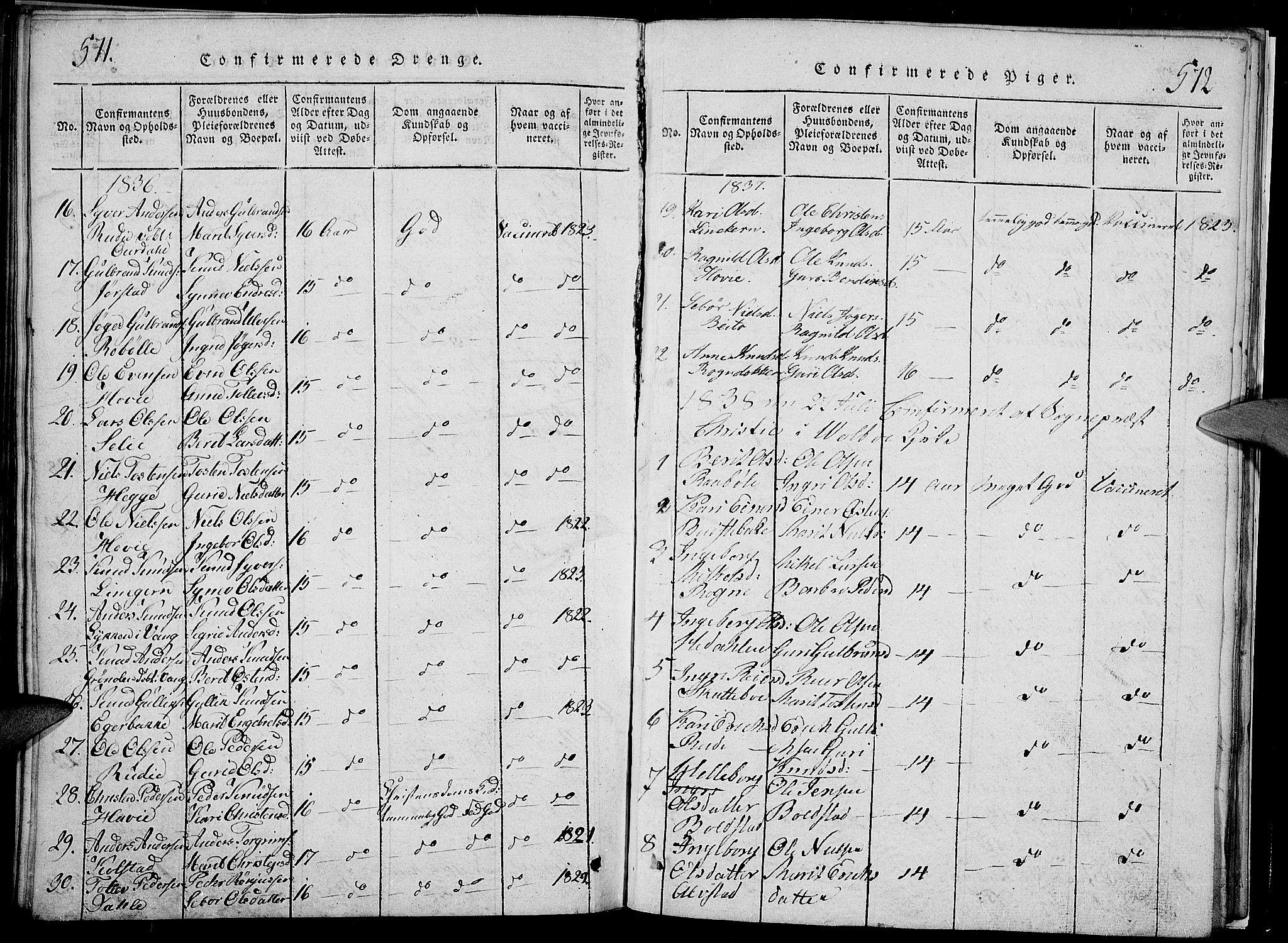 SAH, Slidre prestekontor, Klokkerbok nr. 2, 1814-1839, s. 571-572