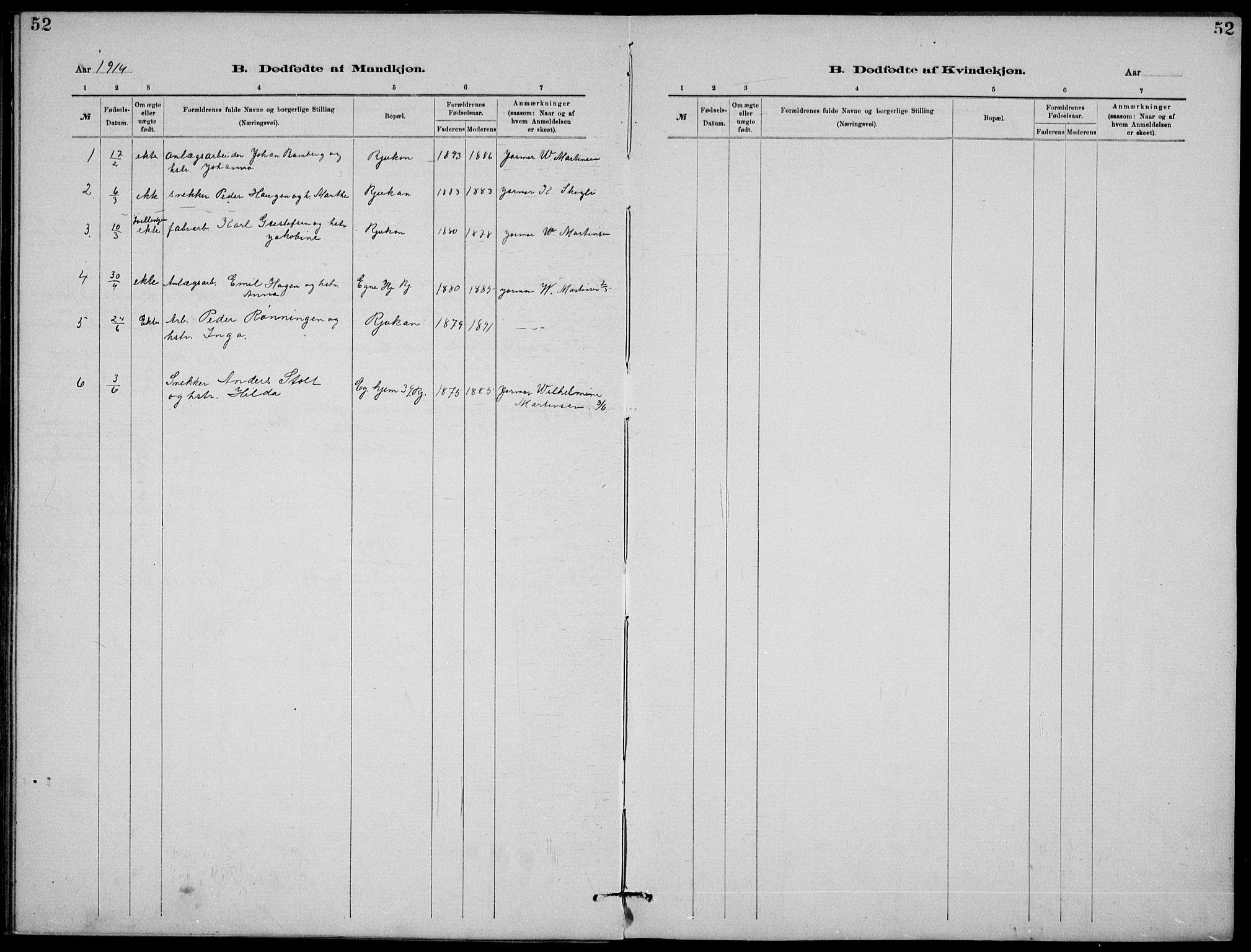 SAKO, Rjukan kirkebøker, G/Ga/L0001: Klokkerbok nr. 1, 1880-1914, s. 52