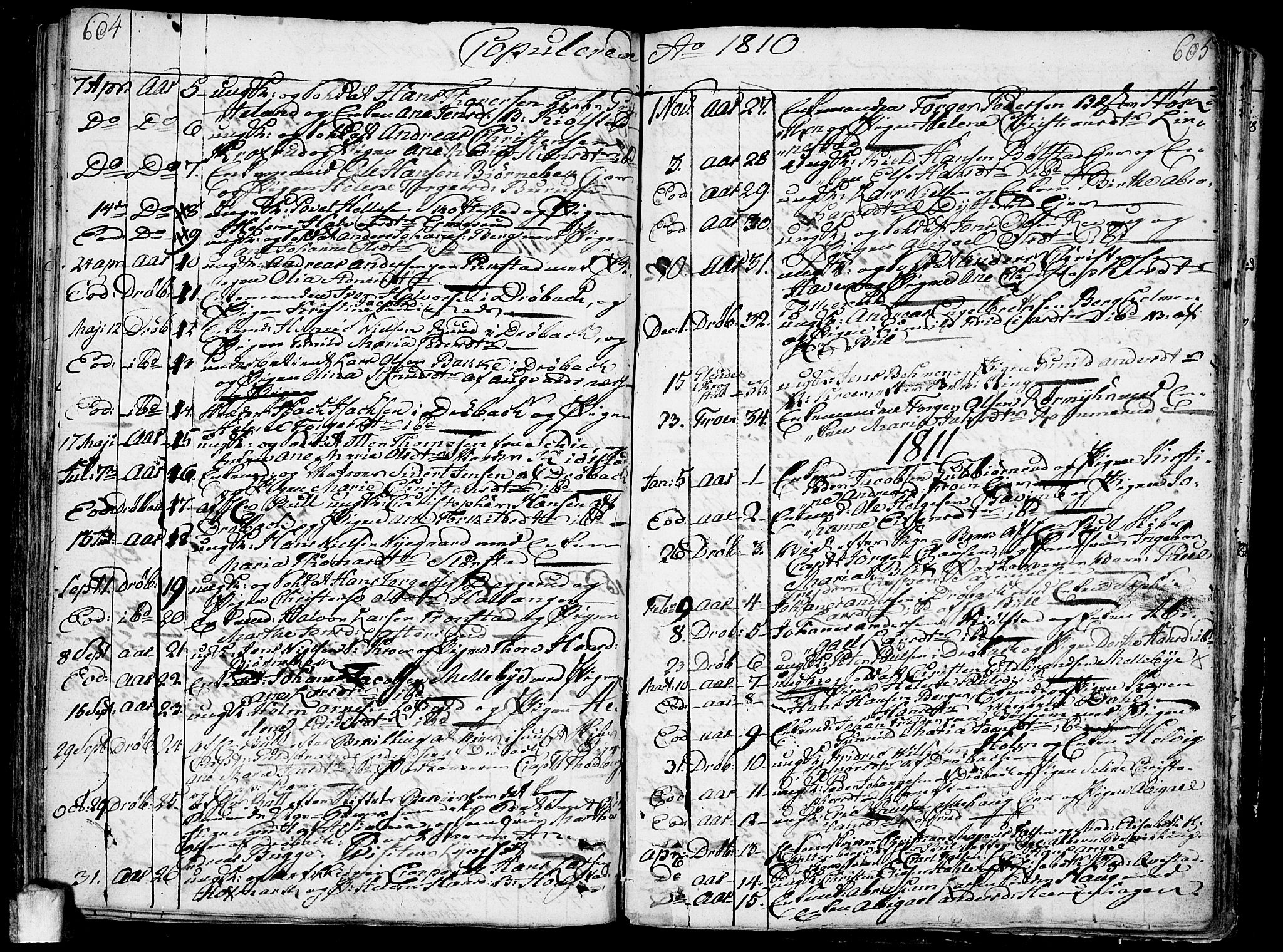 SAO, Ås prestekontor Kirkebøker, F/Fa/L0002: Ministerialbok nr. I 2, 1778-1813, s. 604-605