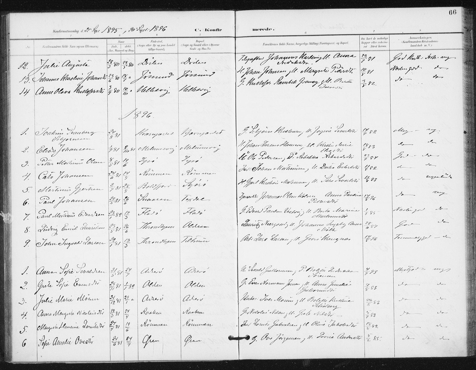 SAT, Ministerialprotokoller, klokkerbøker og fødselsregistre - Sør-Trøndelag, 654/L0664: Ministerialbok nr. 654A02, 1895-1907, s. 66