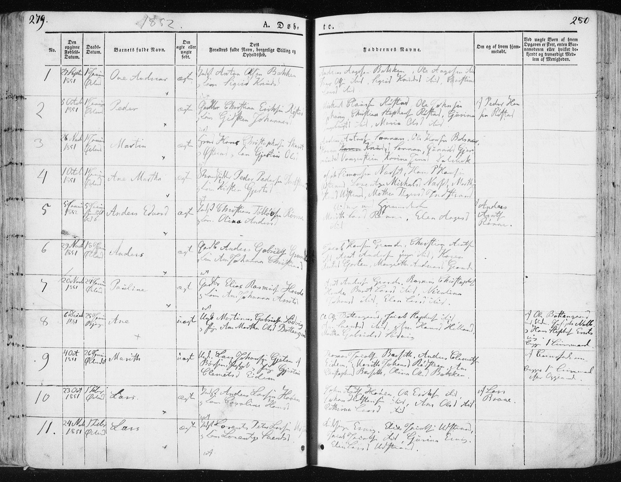 SAT, Ministerialprotokoller, klokkerbøker og fødselsregistre - Sør-Trøndelag, 659/L0736: Ministerialbok nr. 659A06, 1842-1856, s. 279-280