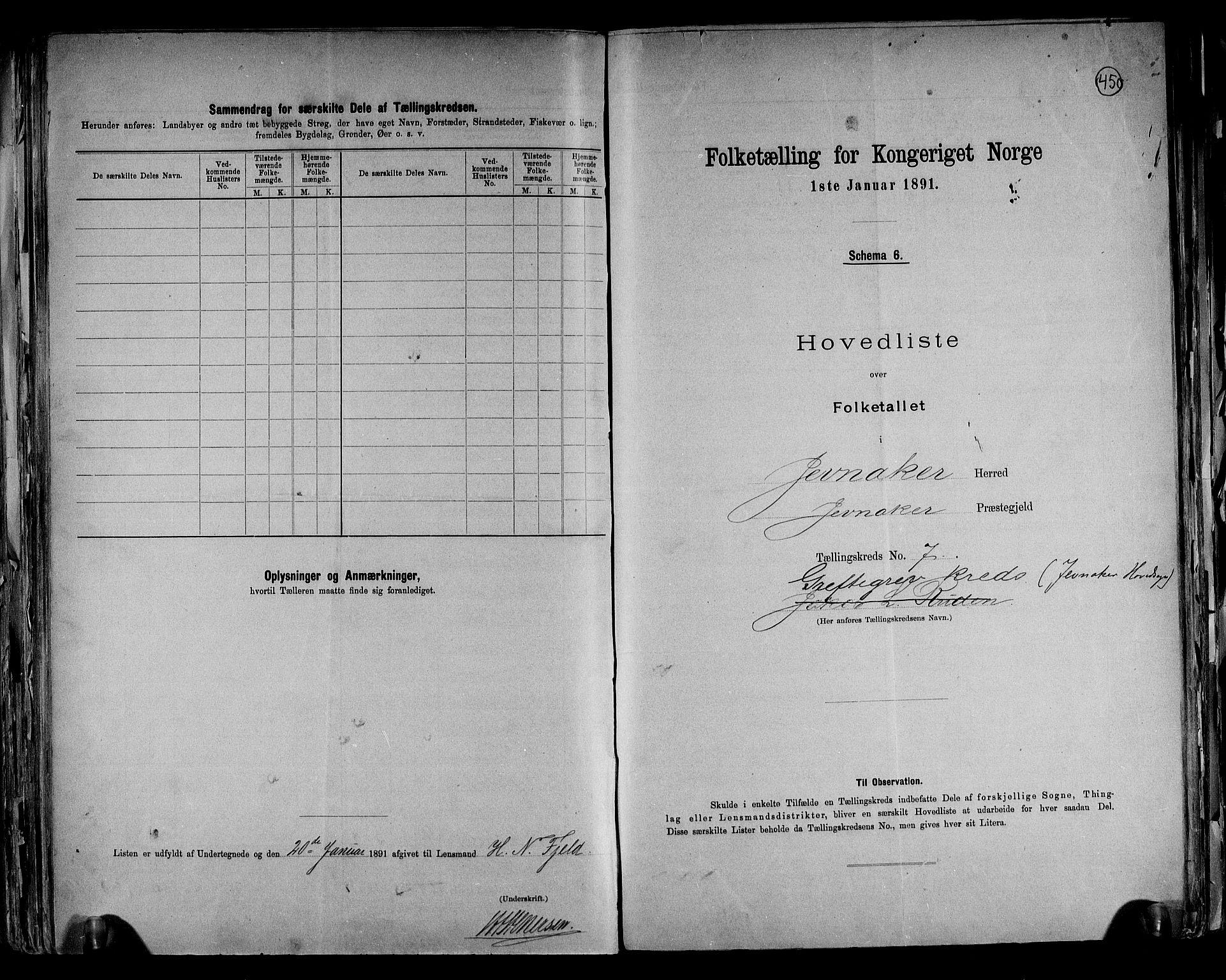 RA, Folketelling 1891 for 0532 Jevnaker herred, 1891, s. 20