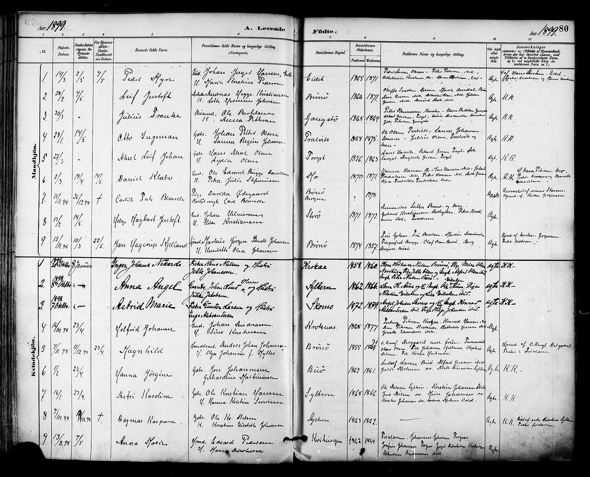 SAT, Ministerialprotokoller, klokkerbøker og fødselsregistre - Nordland, 813/L0200: Ministerialbok nr. 813A10, 1886-1900, s. 80